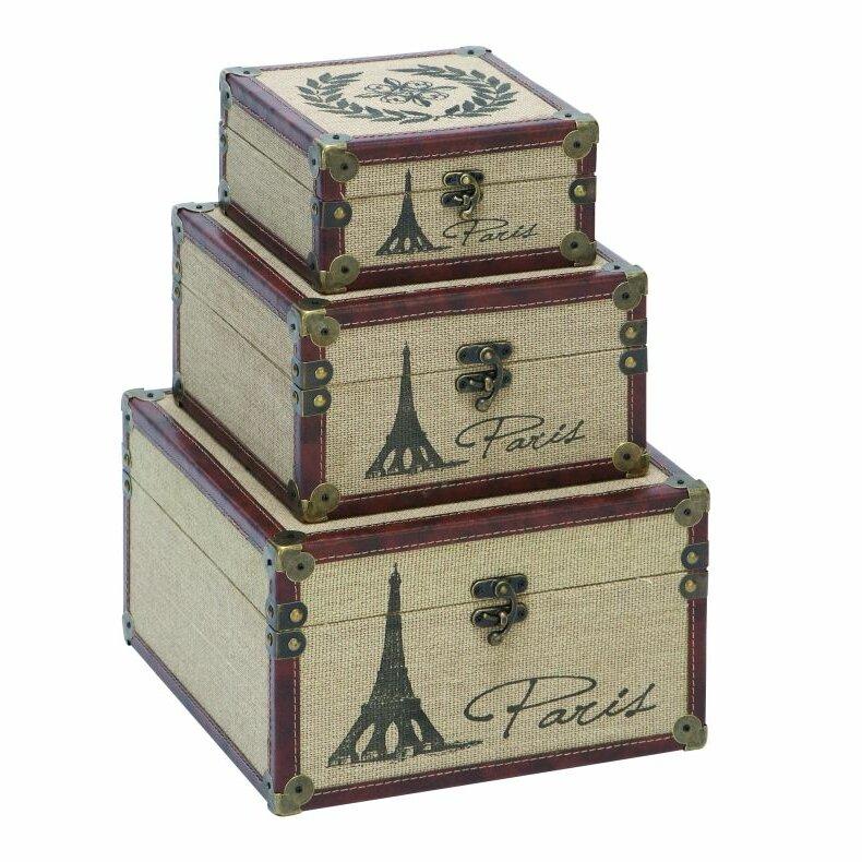 3 piece wood burlap box set wayfair for Decor containers coles