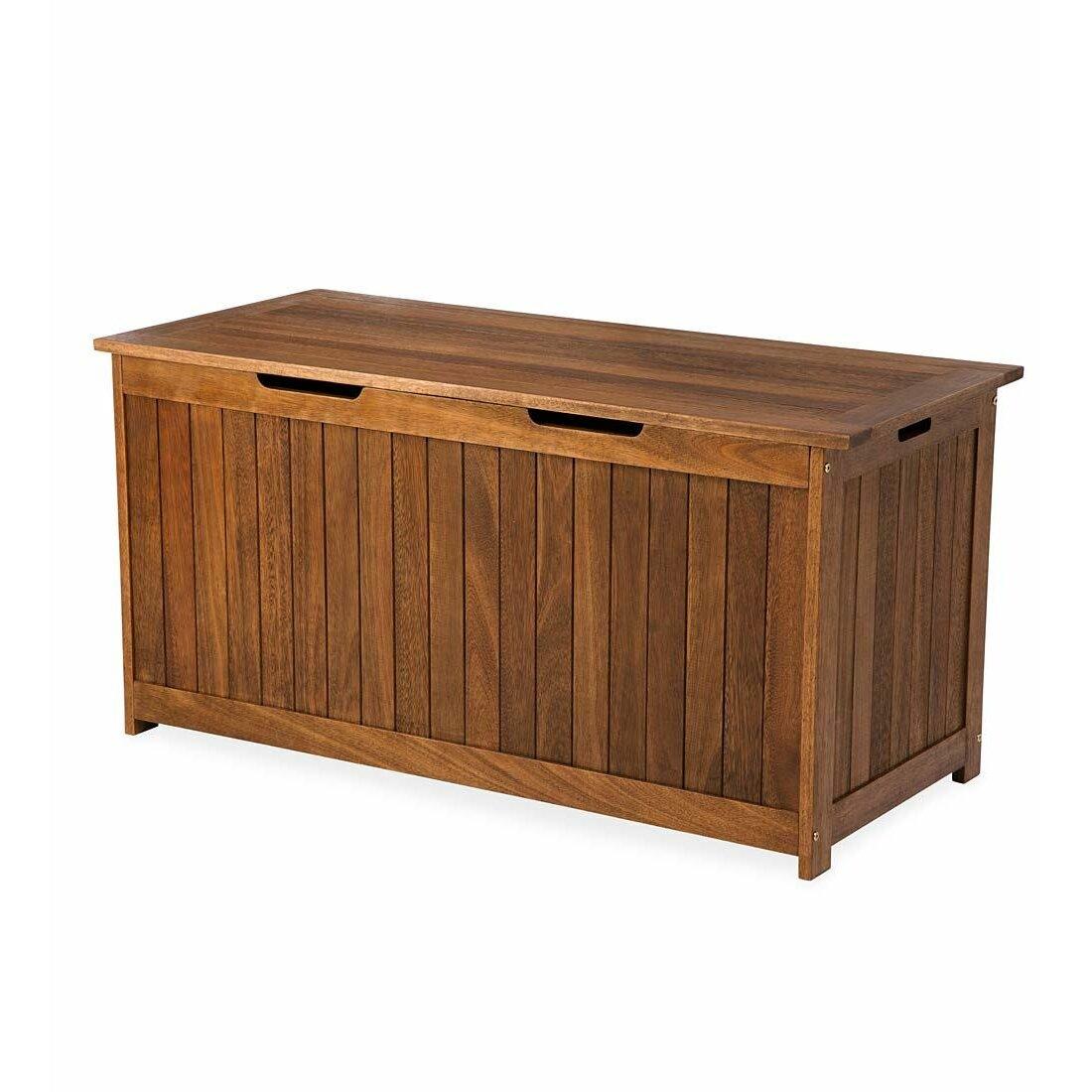 plow hearth lancaster eucalyptus wood deck box reviews wayfair. Black Bedroom Furniture Sets. Home Design Ideas