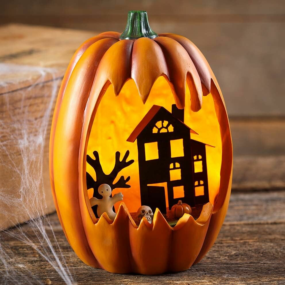Lighted Faux Carved Pumpkin With Haunted House