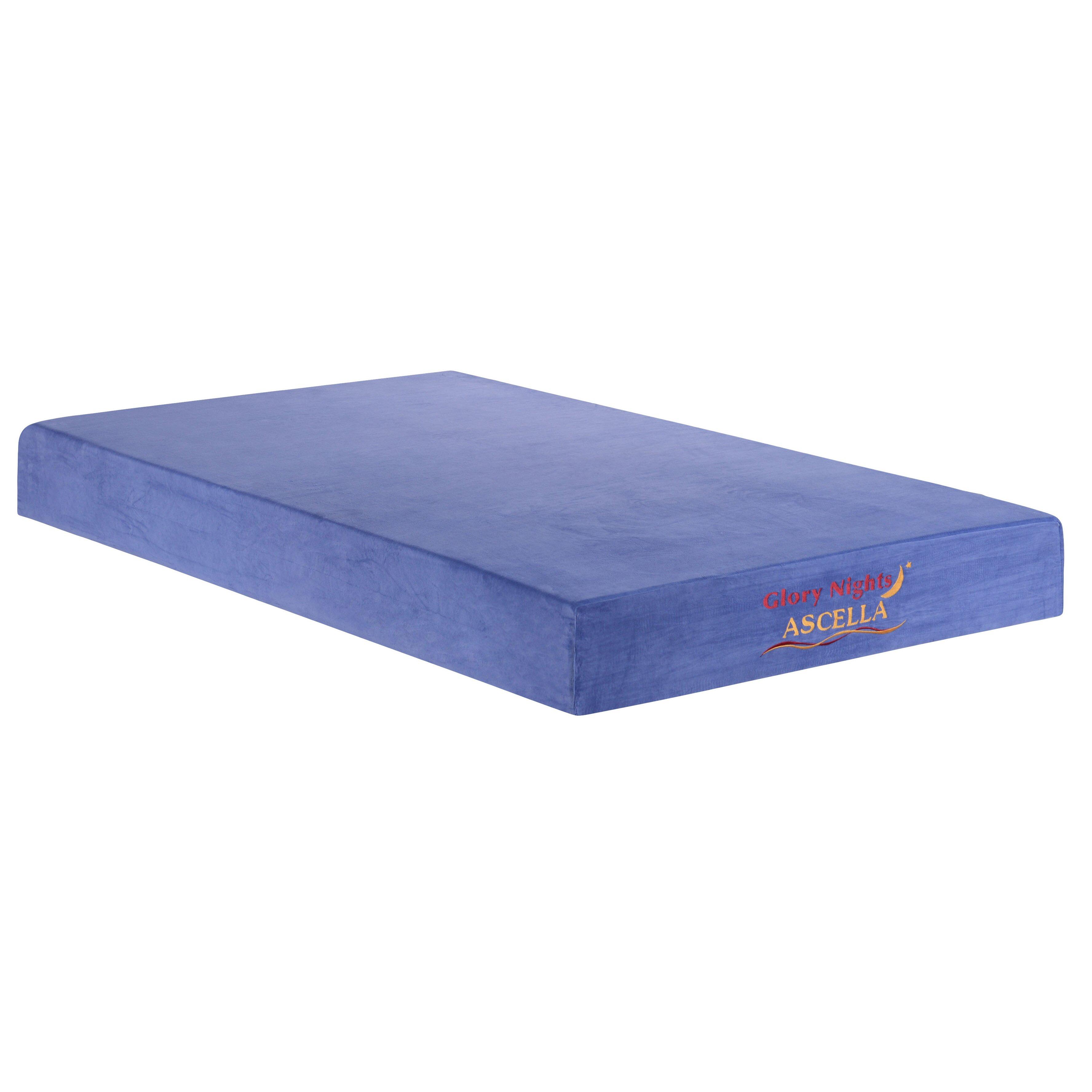 """Ascella 8"""" Memory Foam Mattress in Blue"""
