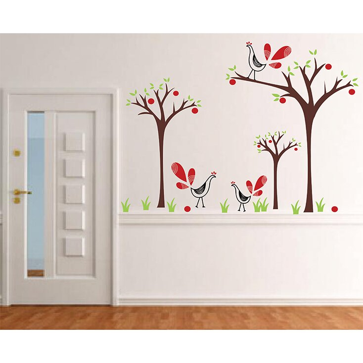 Peacock and apple trees wall decal for Apple tree mural
