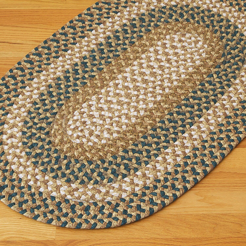 Fabric Multi Blue/Beige Area Rug