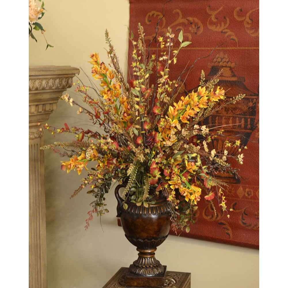 floral home decor wildflower and orchid silk flower arrangement