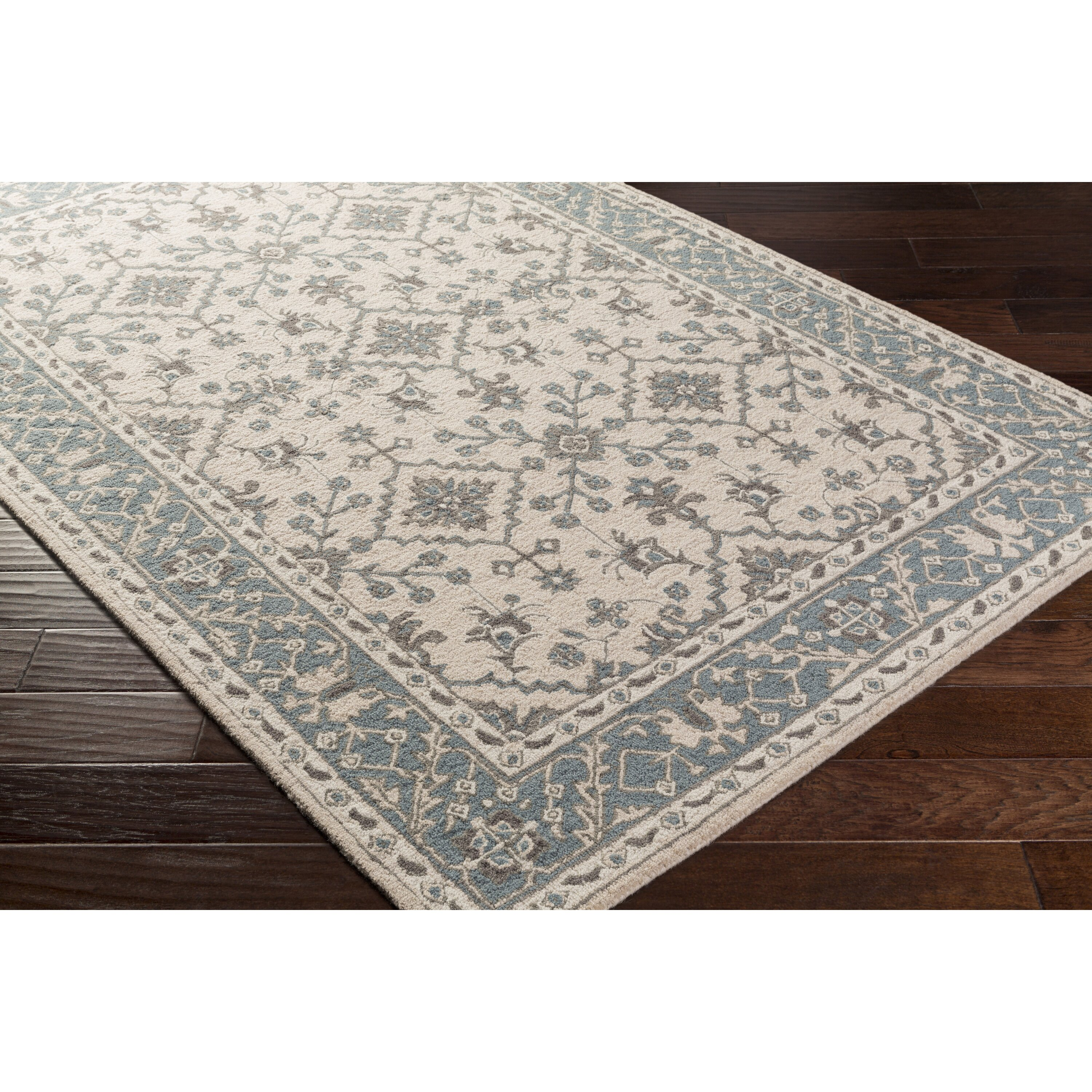 Pottershill Hand-Tufted Beige/Teal Area Rug
