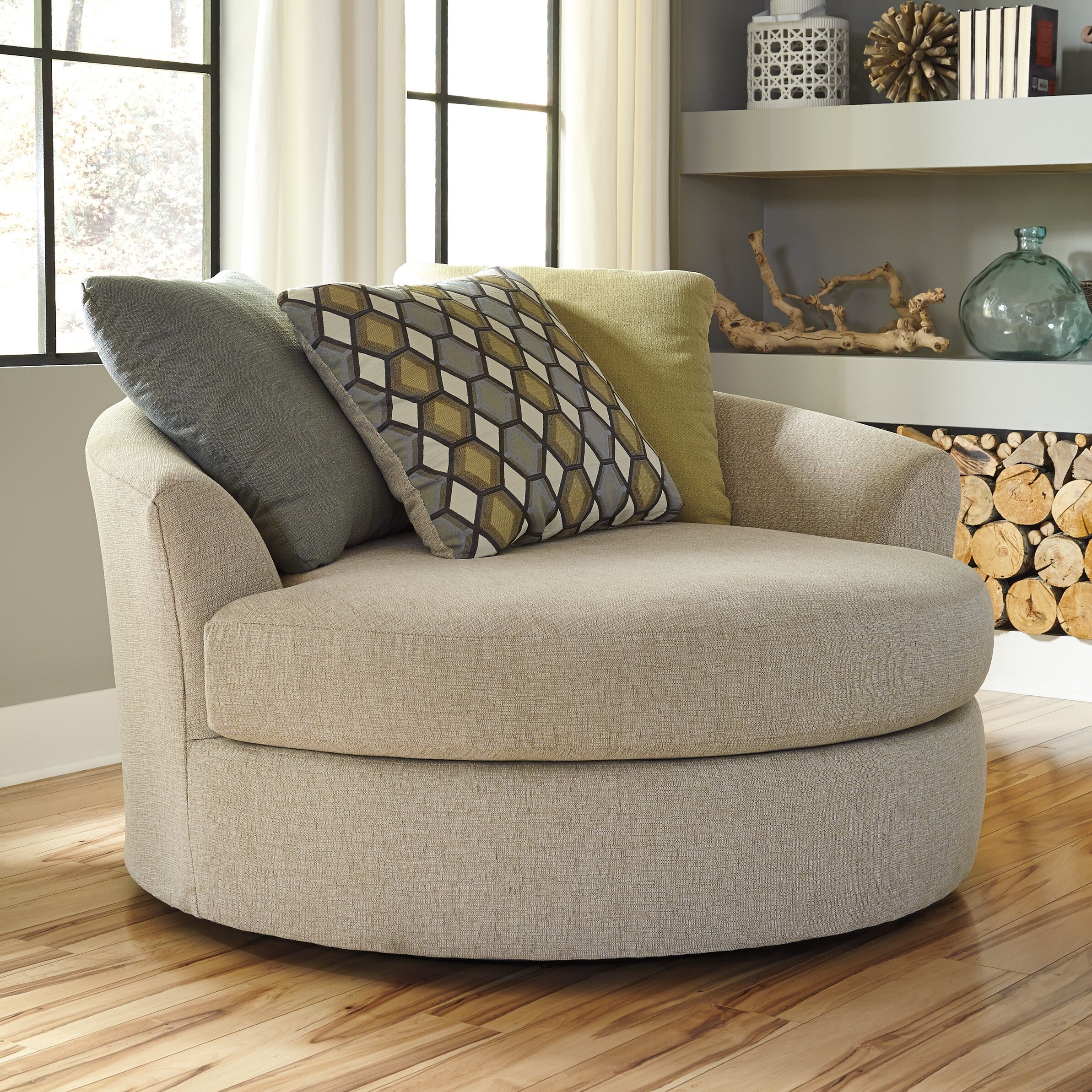 Latitude Run Bradfield Oversized Swivel Barrel Chair ...