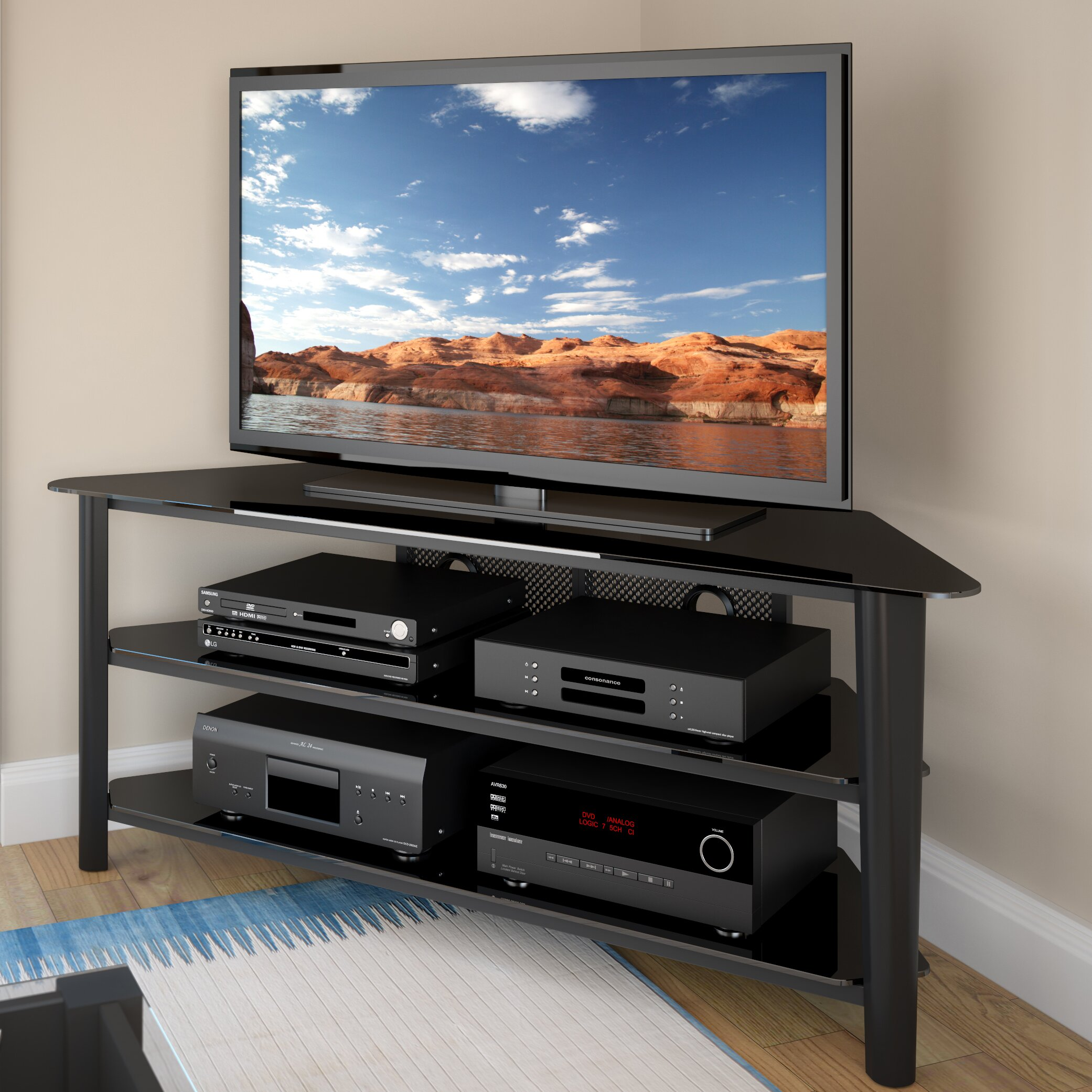 dcor design alturas corner tv stand reviews wayfair. Black Bedroom Furniture Sets. Home Design Ideas
