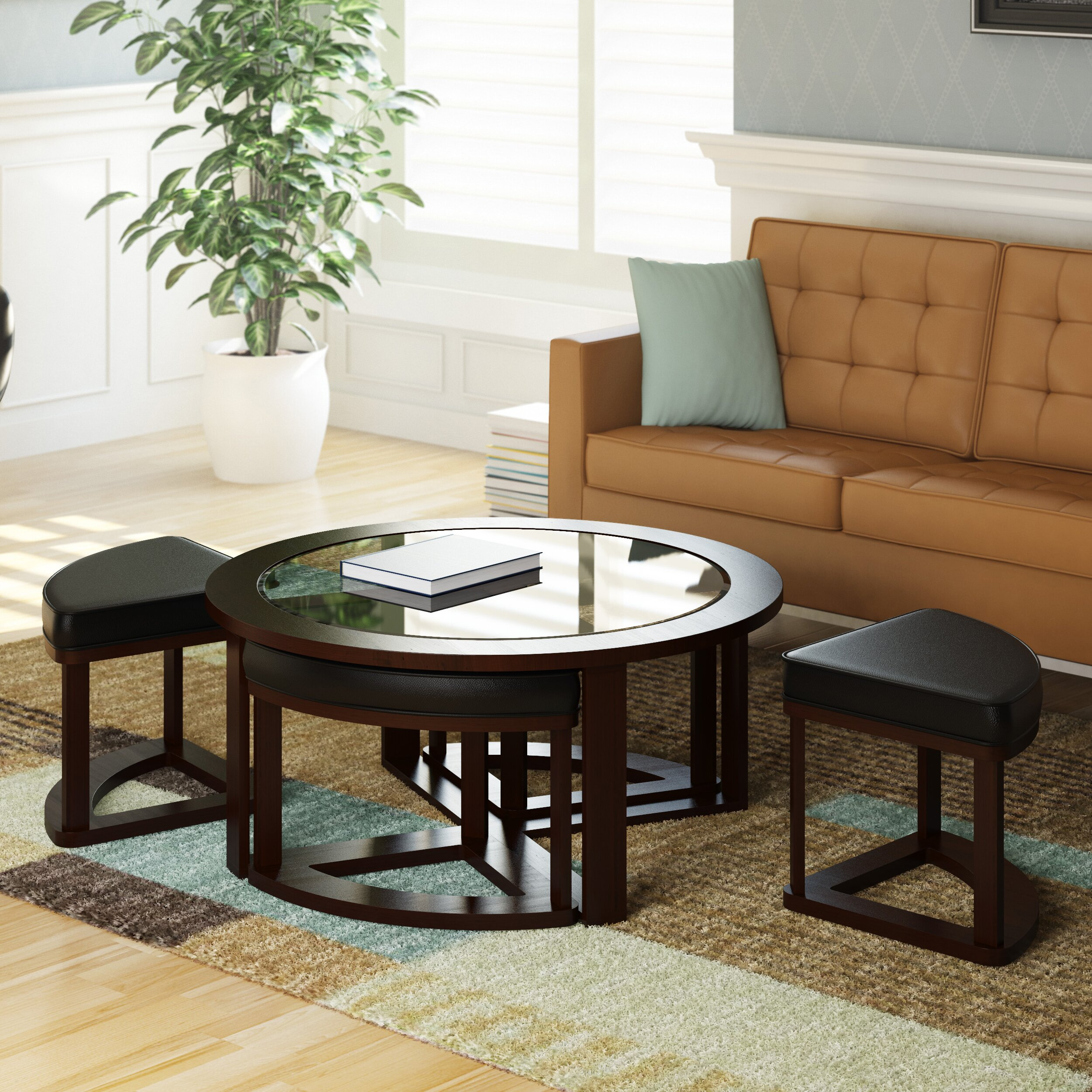 DCOR Design Belgrove Coffee Table With 4 Stools & Reviews