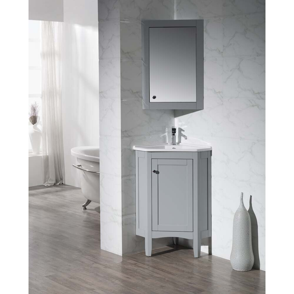 "25"" Single Corner Bathroom Vanity Set With Mirror"
