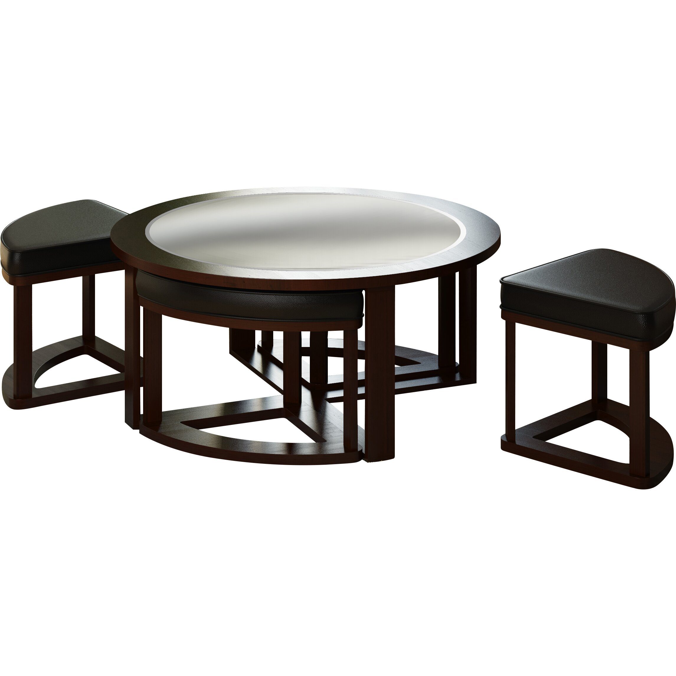 Dcor design belgrove coffee table with 4 stools reviews for Square coffee table with stools