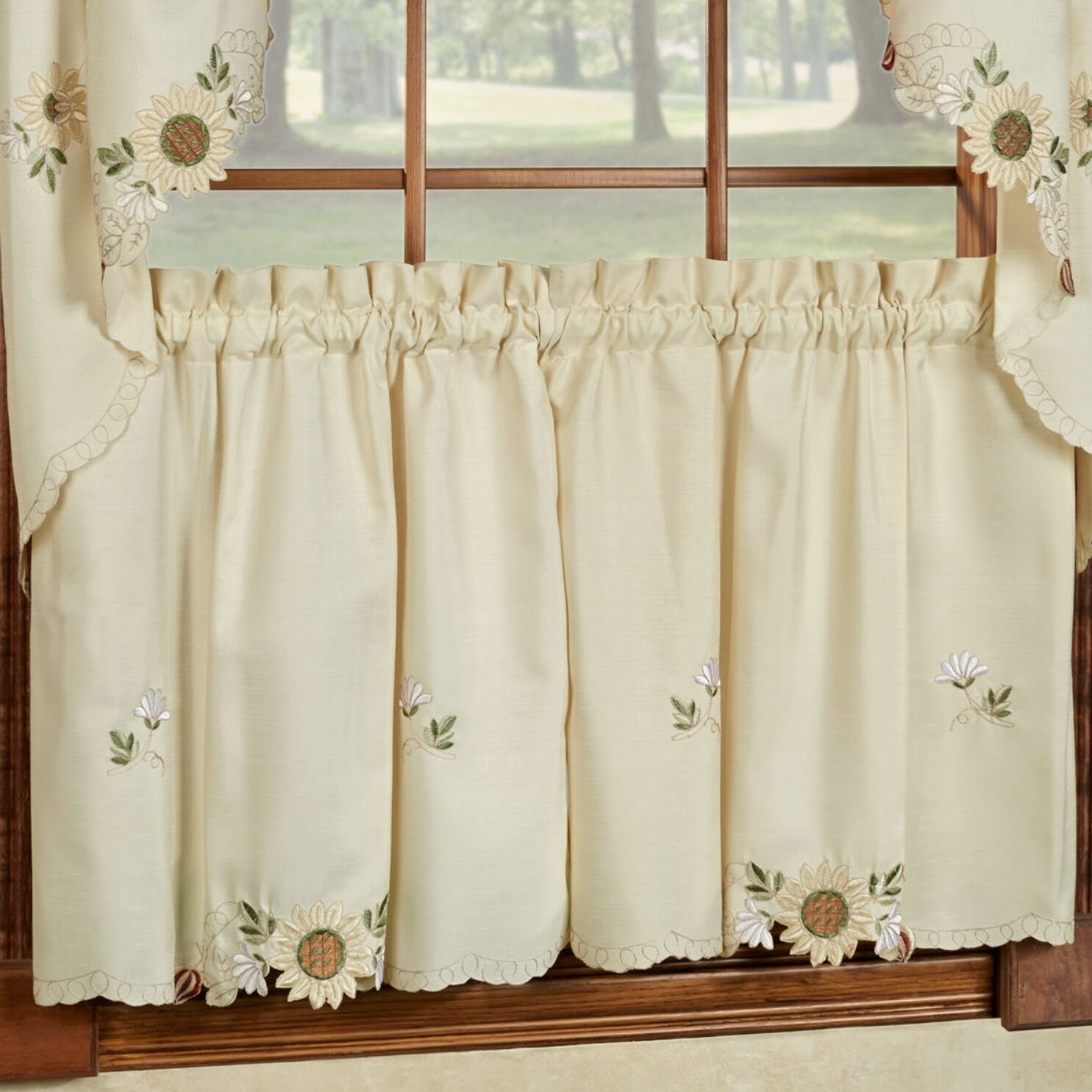 Sunflower Embroidered Kitchen Tier Curtain Wayfair