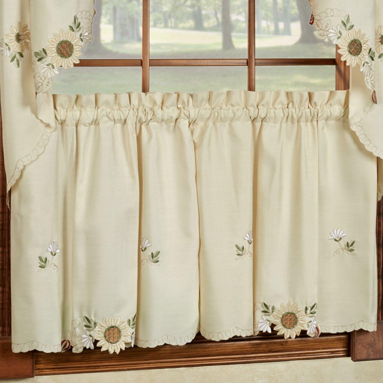 Sunflower Embroidered Kitchen Tier Curtain