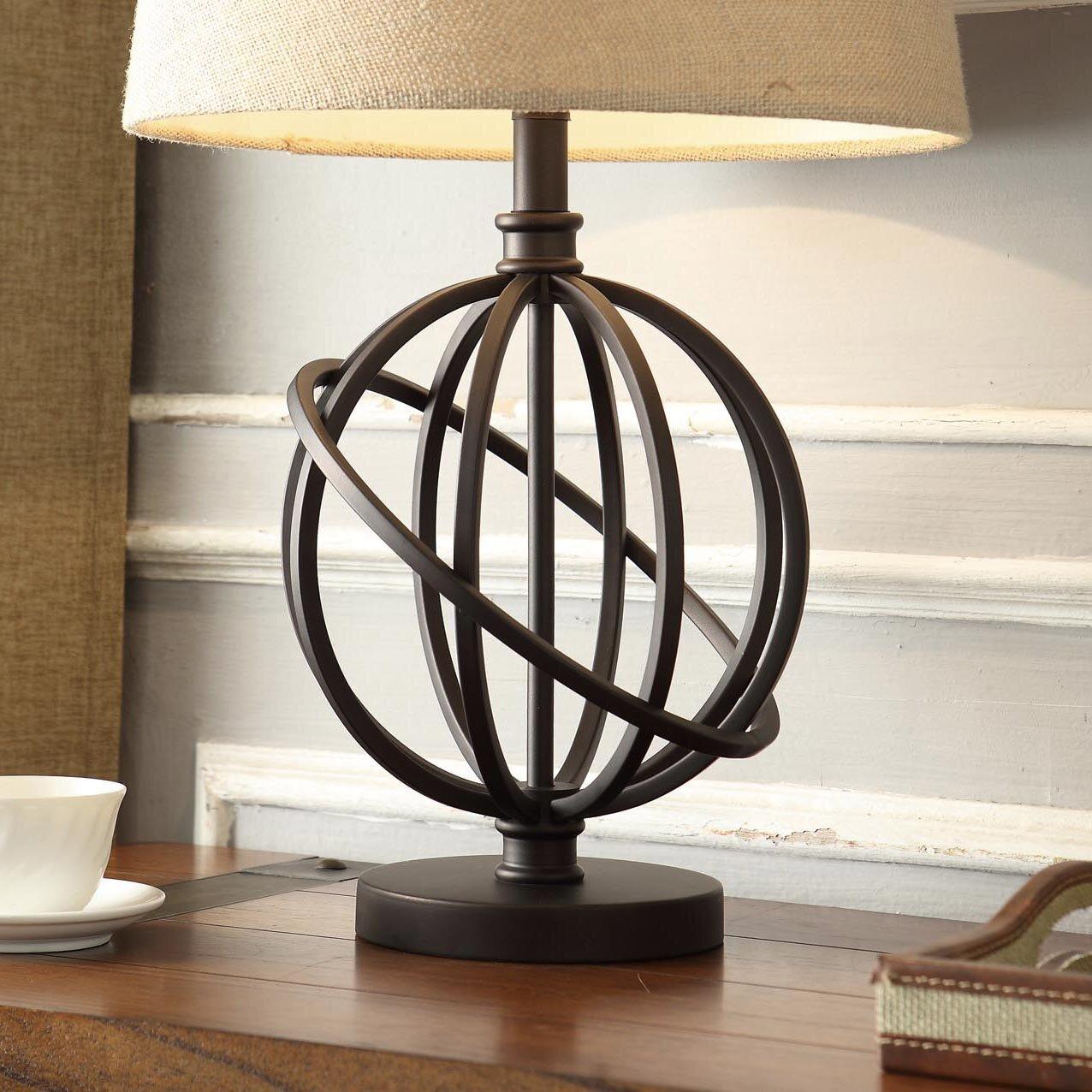"Metal Ball Lamp Shade: Mercury Row Oliver Metal Orbit Globe 26"" H Table Lamp With"