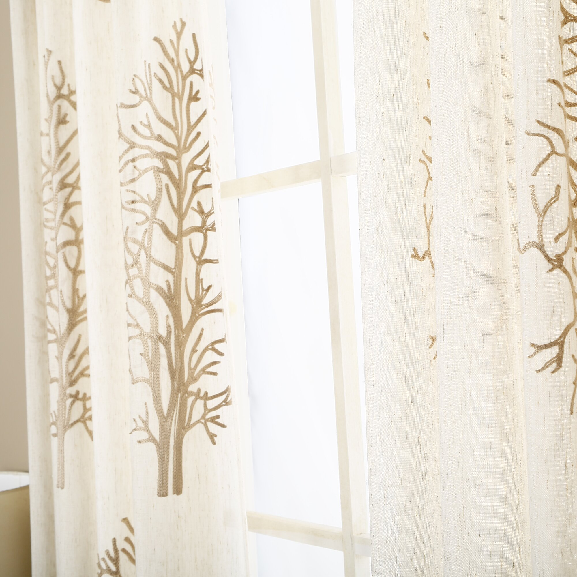 Tree Embroidered Sheer Rod Pocket Curtain Panels Wayfair