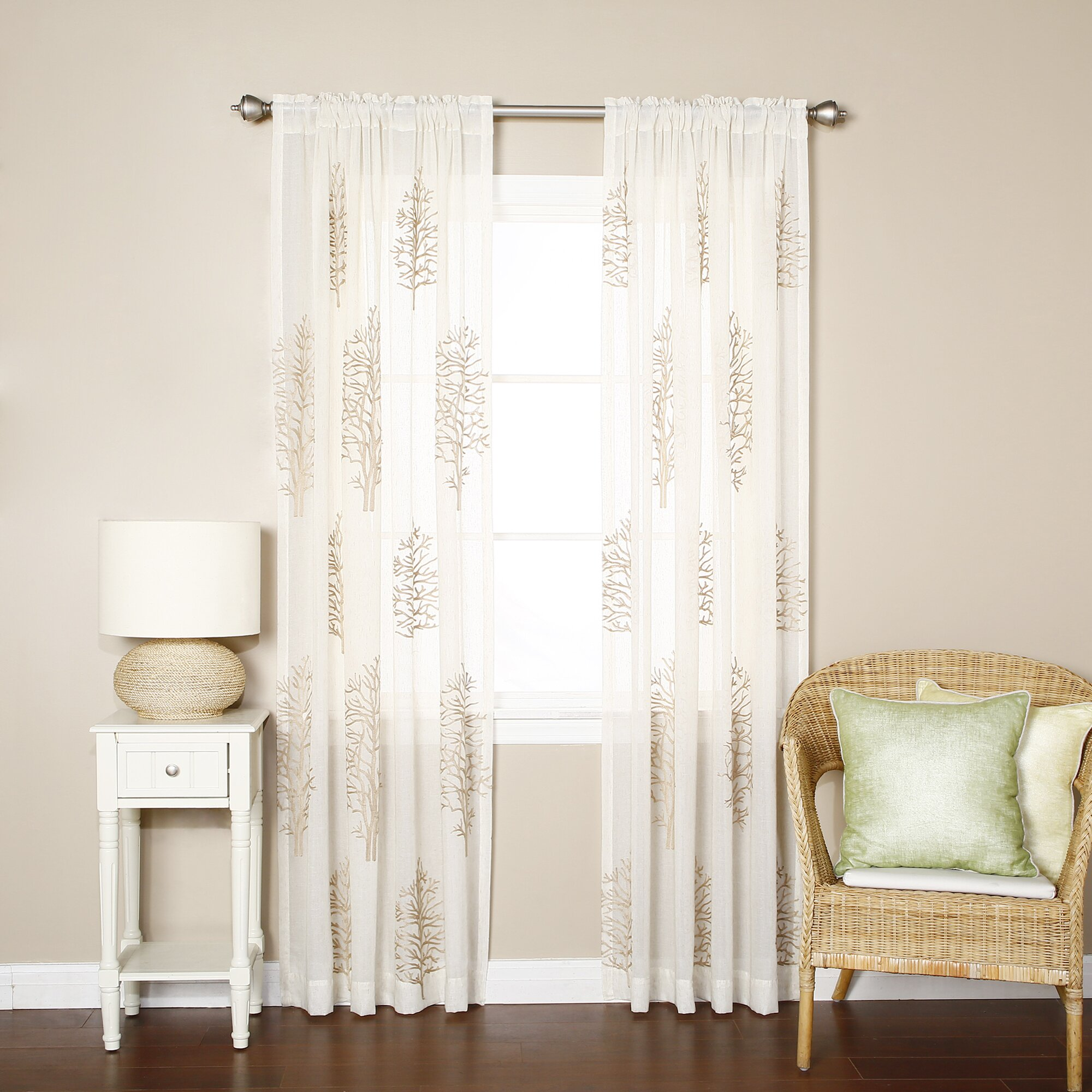 tree embroidered sheer rod pocket curtain panels by best home fashion