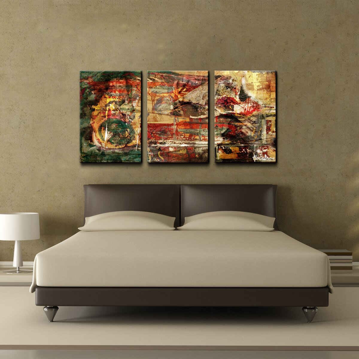 Ready2hangart oversized abstract 3 piece canvas wall art for Ready set decor reviews