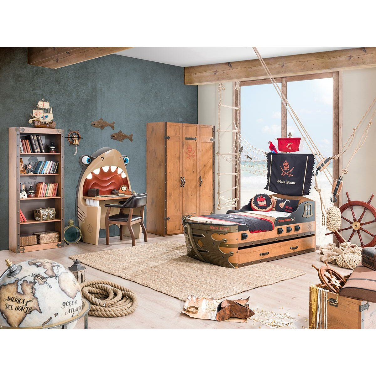 Pirate armada ship twin captain bed wayfair for Decoration pirate pour chambre