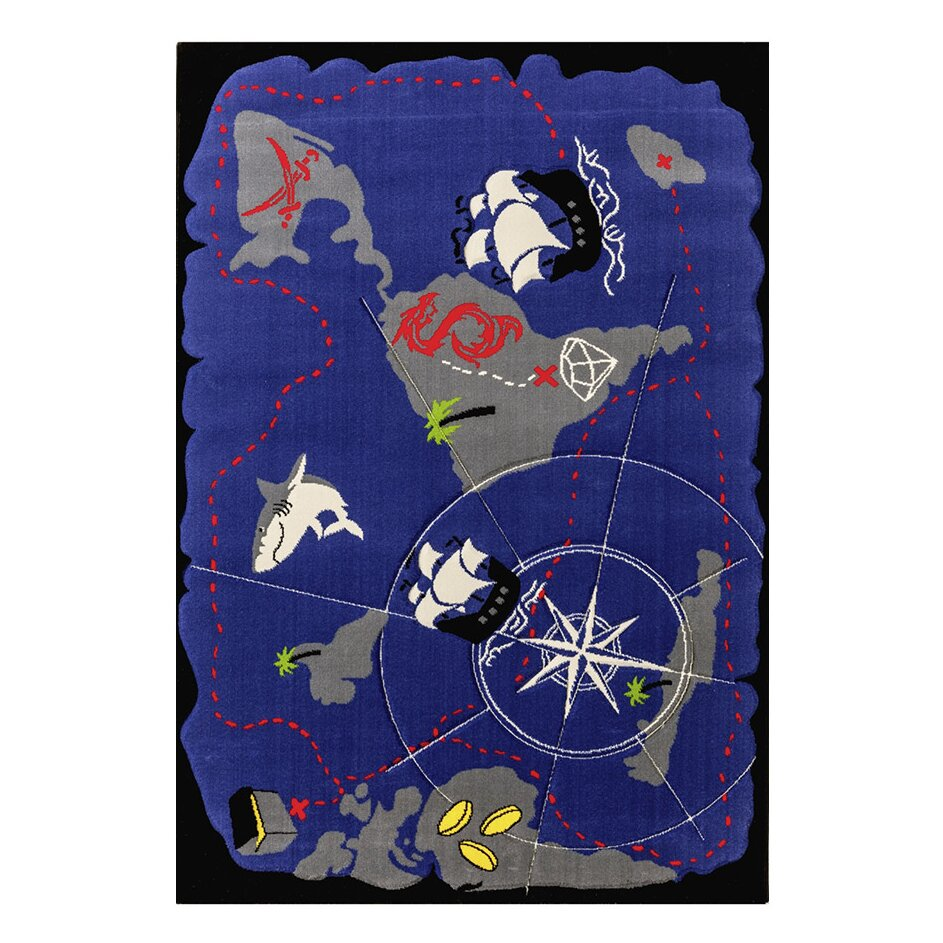 Pirate Rug Next: Black Pirate Hand-Tufted Blue Area Rug