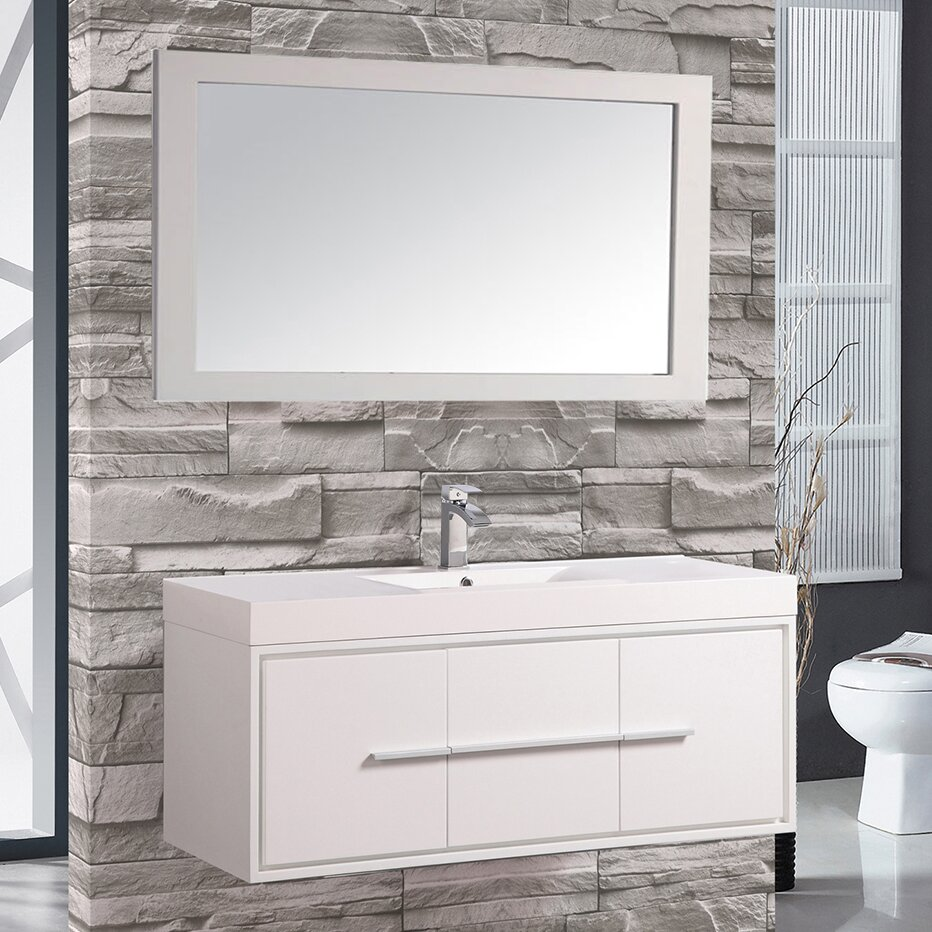 Cypress 48 Single Floating Bathroom Vanity Set With Mirror Wayfair