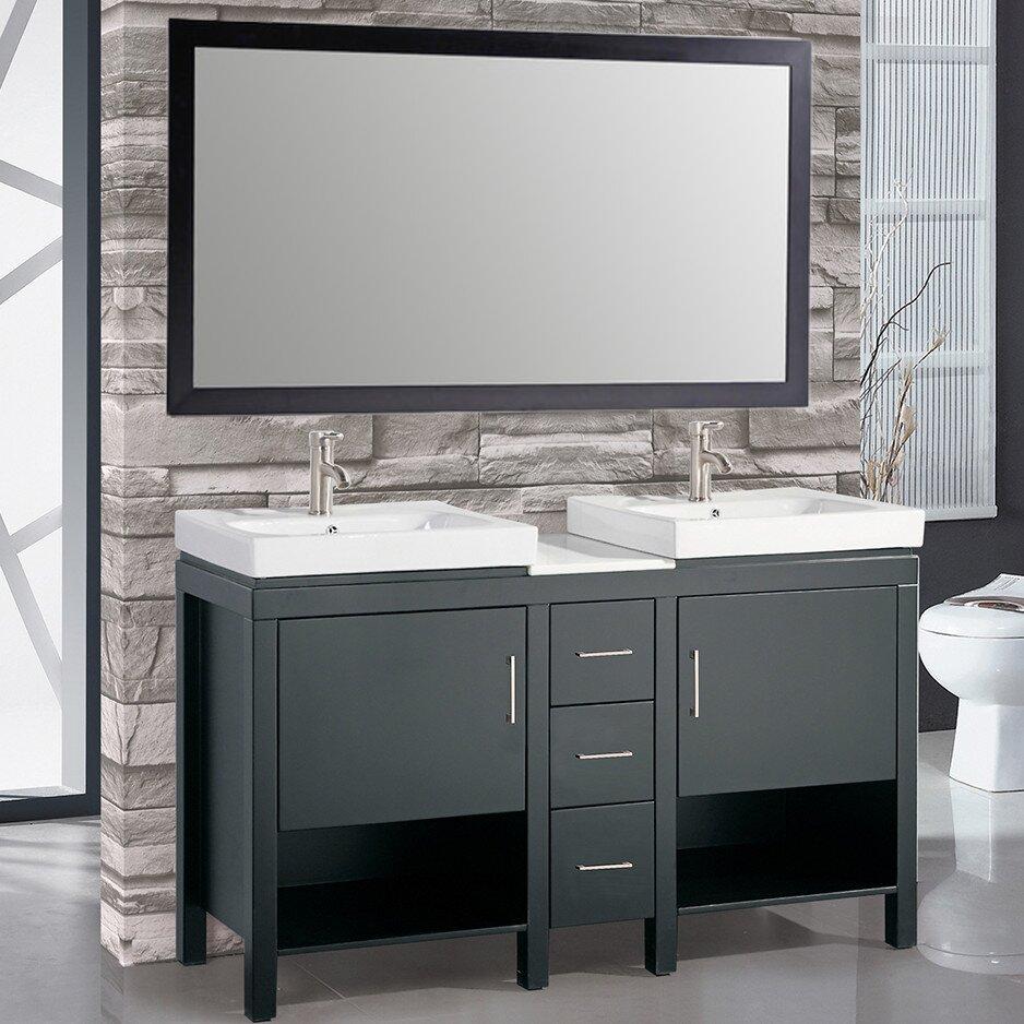 "Double Sink Mirrored Bathroom Vanity: MTDVanities Belarus I 60"" Double Sink Bathroom Vanity Set"