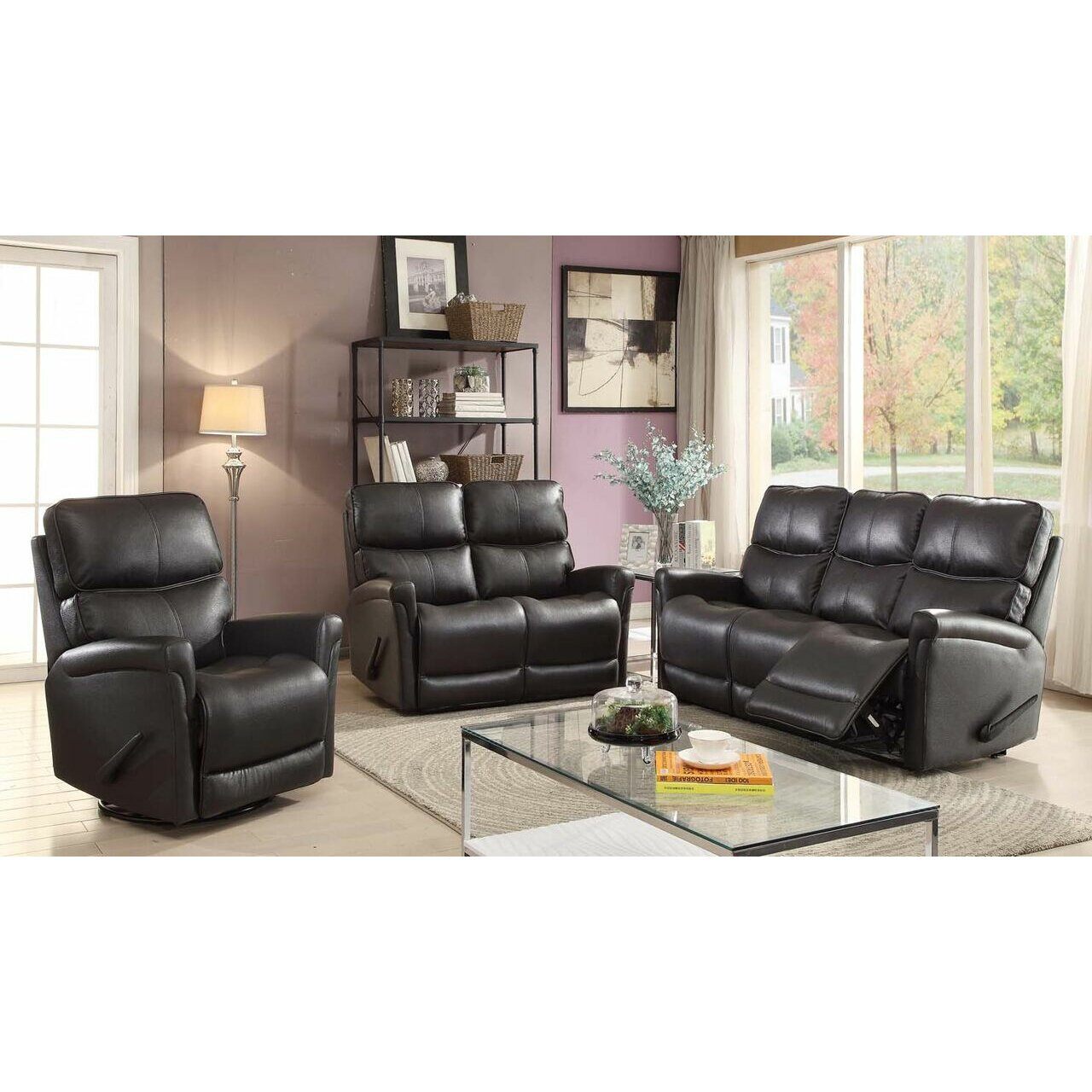 Easy living cologne 3 piece reclining living room set for Living room 3 piece sets