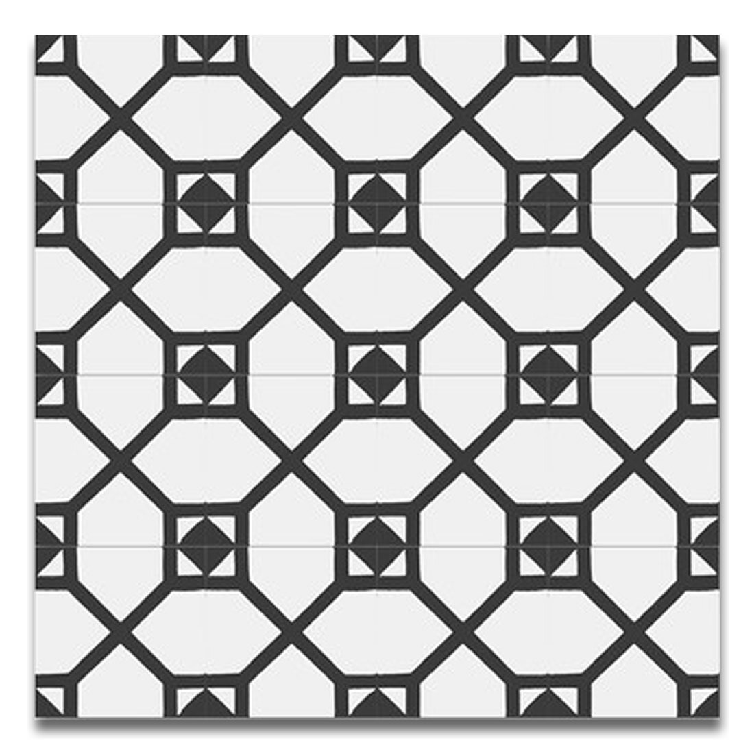 Amoud 8 X 8 Handmade Cement Tile In Black And White