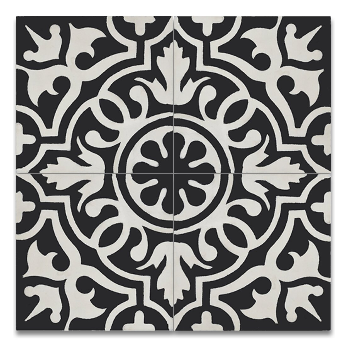 Baha Handmade 8 X 8 Cement Tile In Black And White Wayfair