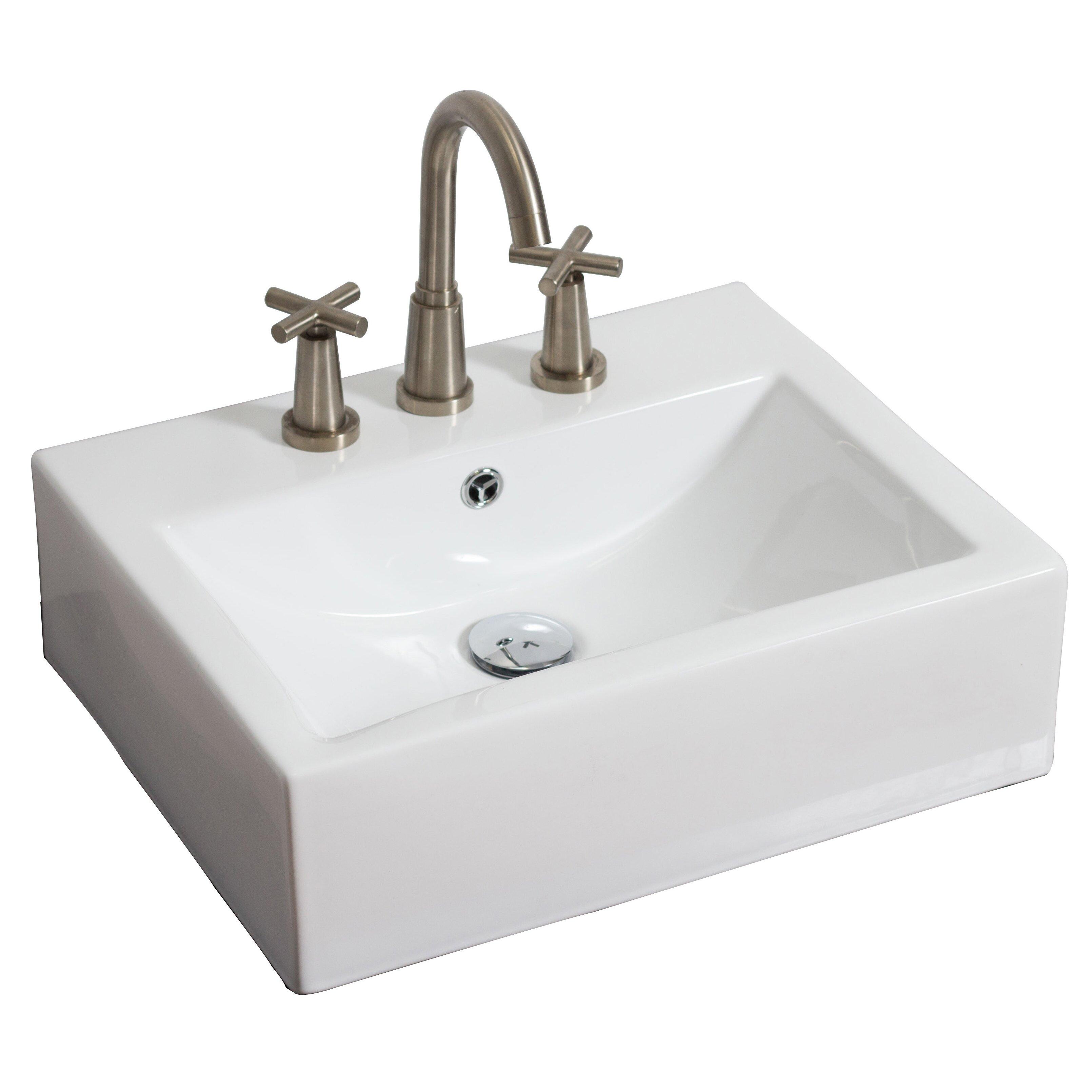 Wall Mounted Rectangle Vessel Bathroom Sink