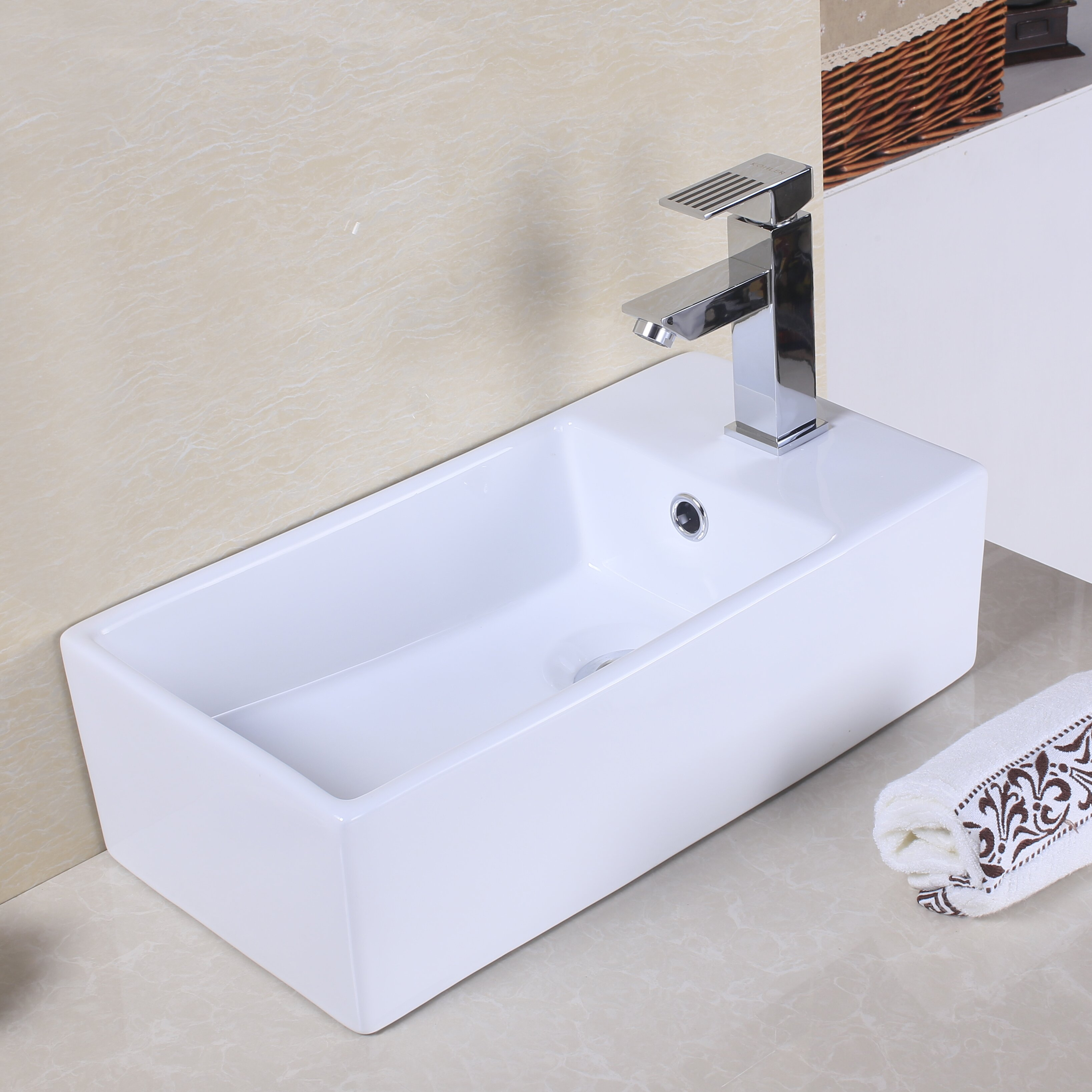 Rectangular Vessel Sink With Overflow : ... Counter Rectangle Vessel Sink with Overflow & Reviews Wayfair.ca