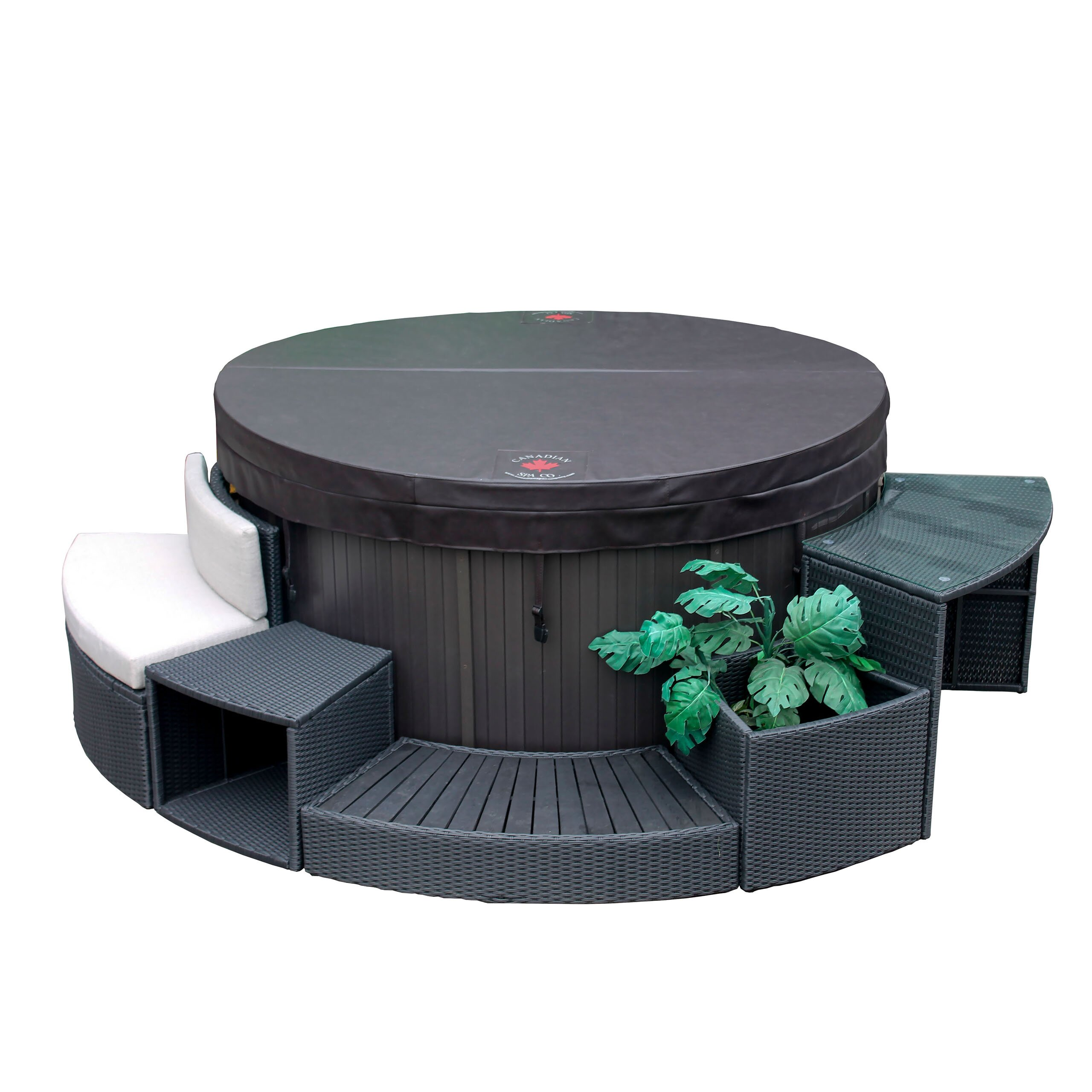 Canadian spa co round spa surround furniture 5 piece set for Spa furniture
