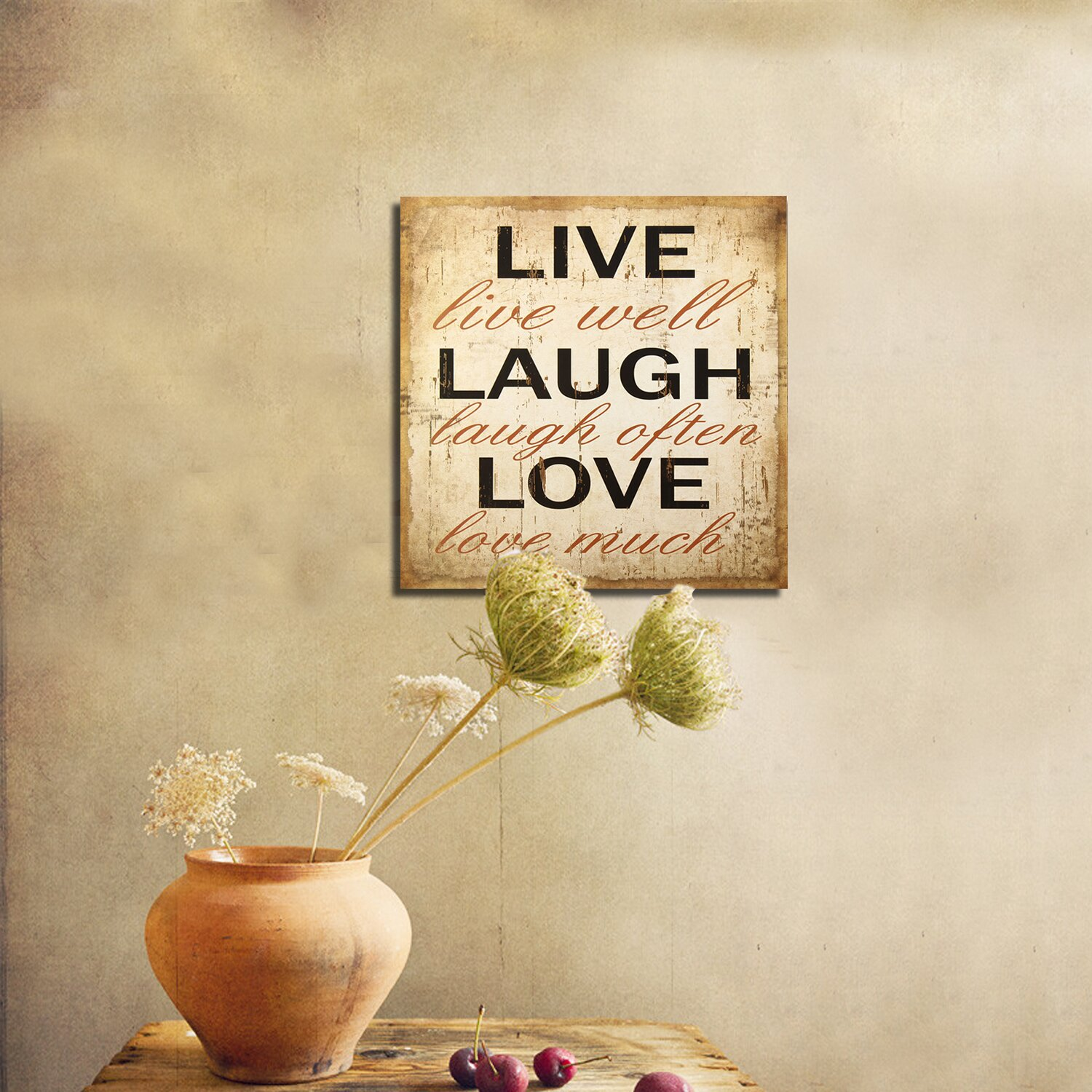 Live laugh love wall decor wayfair for Live laugh love wall art