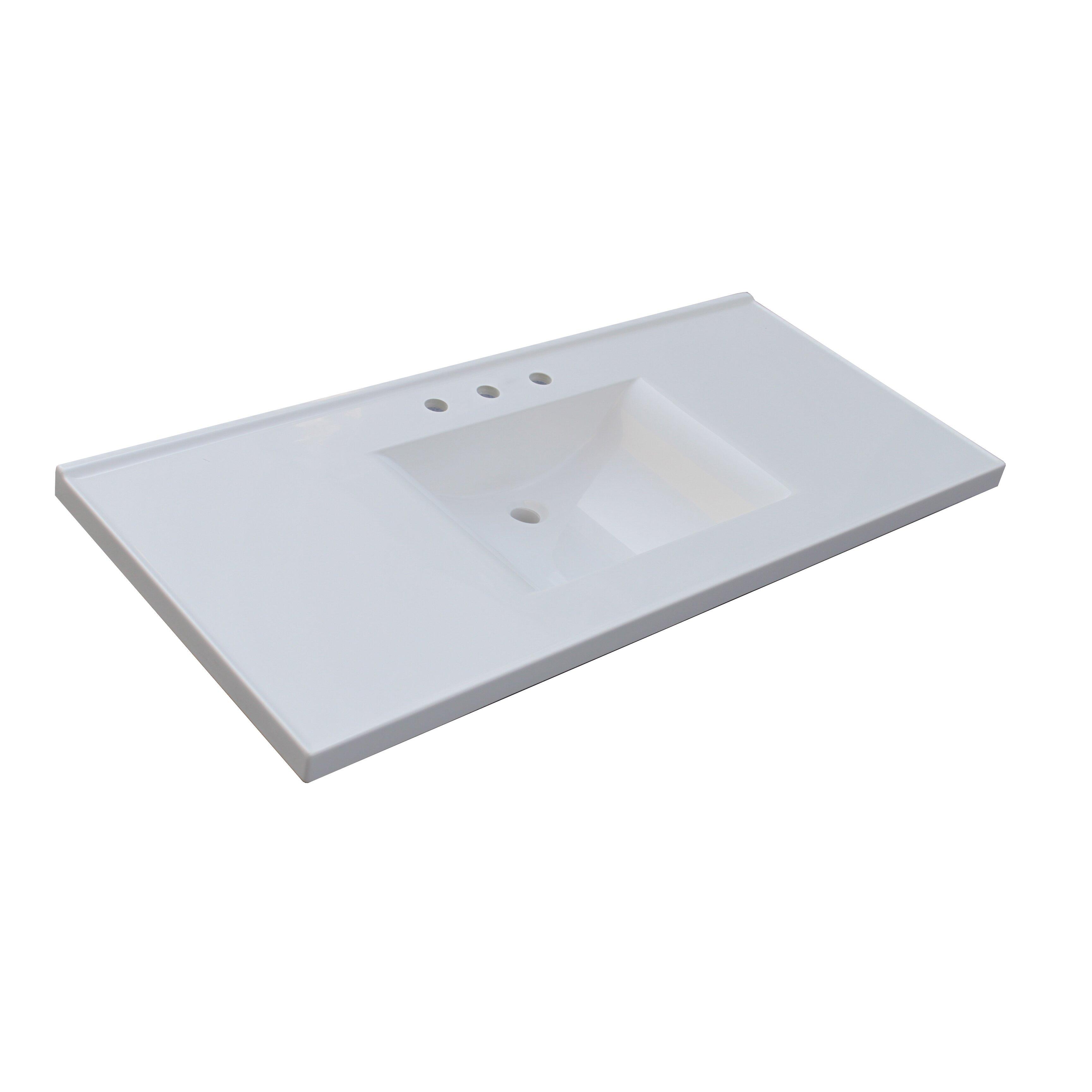 Premier tops 49 bathroom vanity top with integrated basin - Cultured marble bathroom vanity tops ...