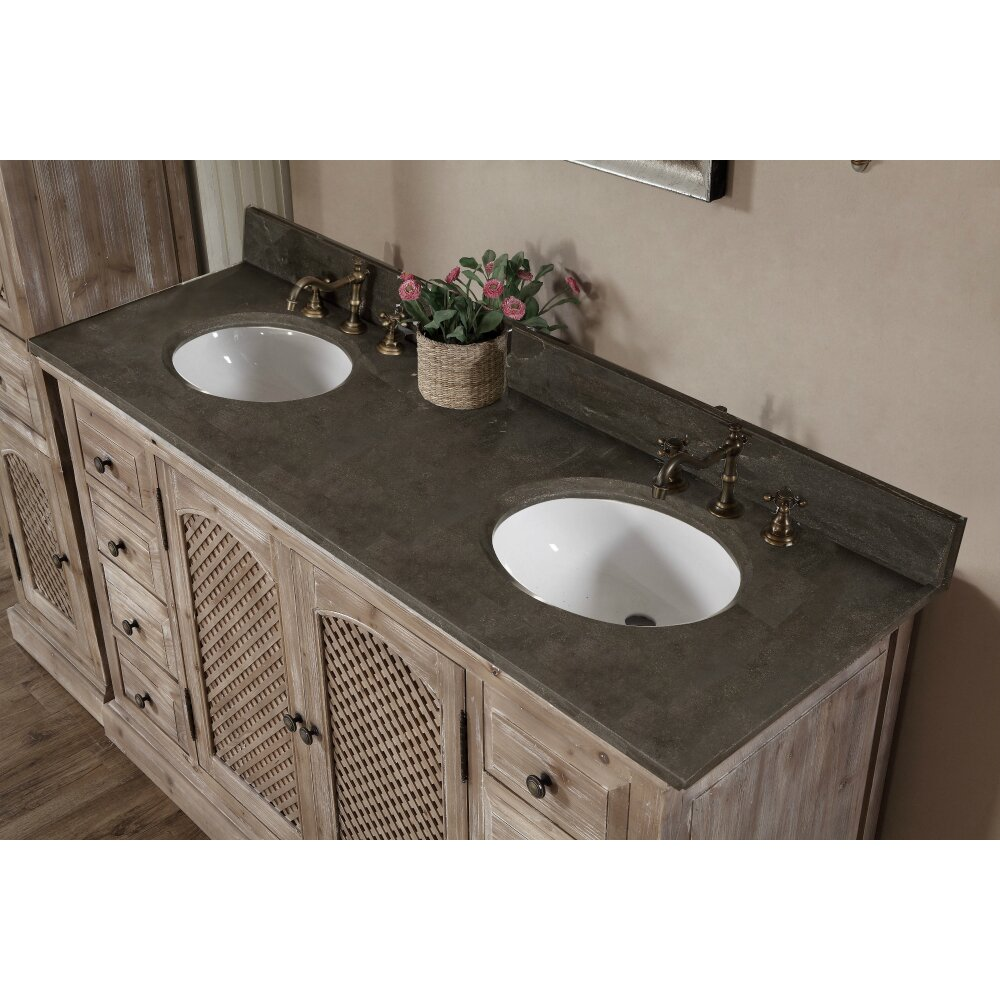 Wk Series 61 Double Bathroom Vanity Set With Linen Tower Wayfair