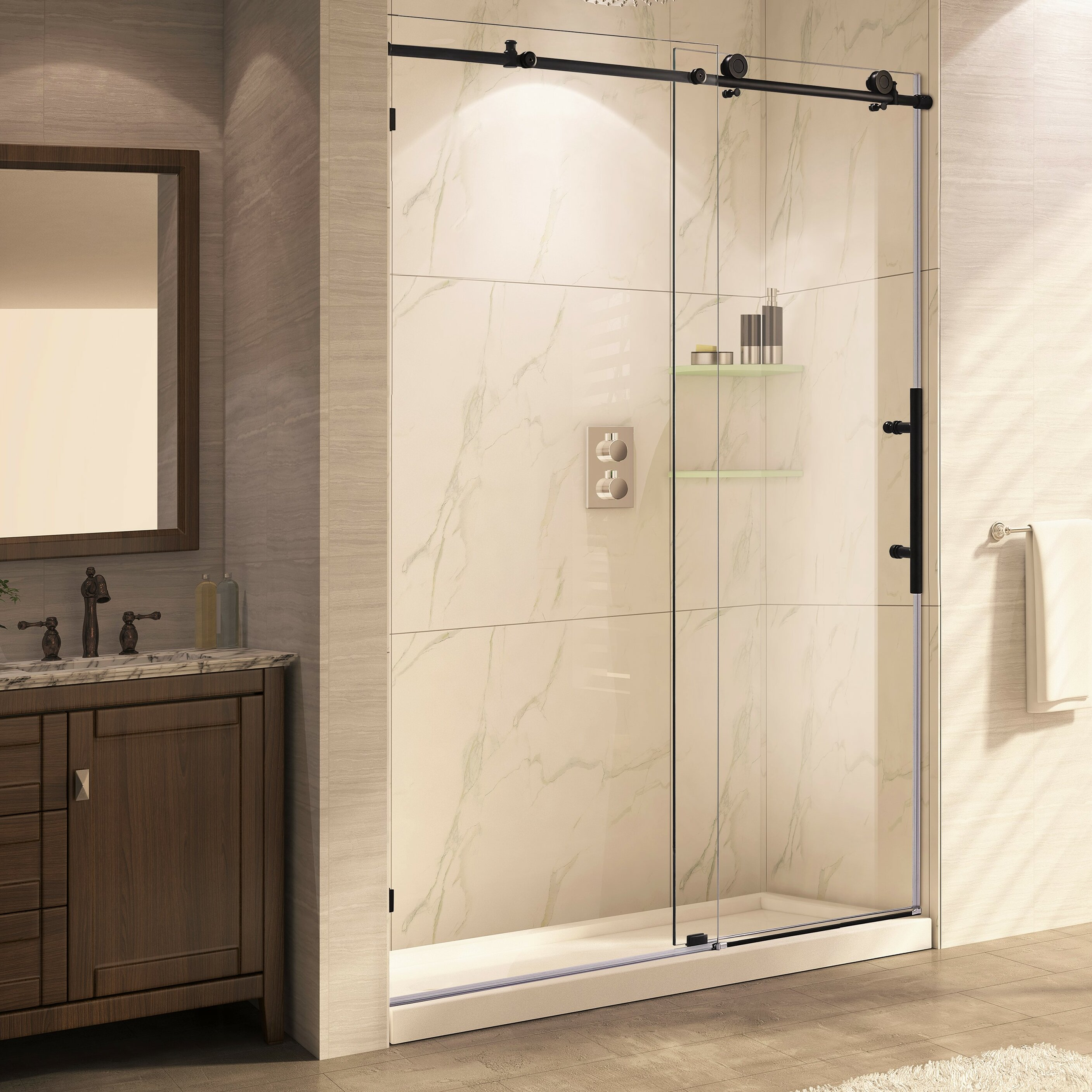 trident mocha 76 x 56 60 frameless sliding oil rubbed bronze shower door wayfair. Black Bedroom Furniture Sets. Home Design Ideas