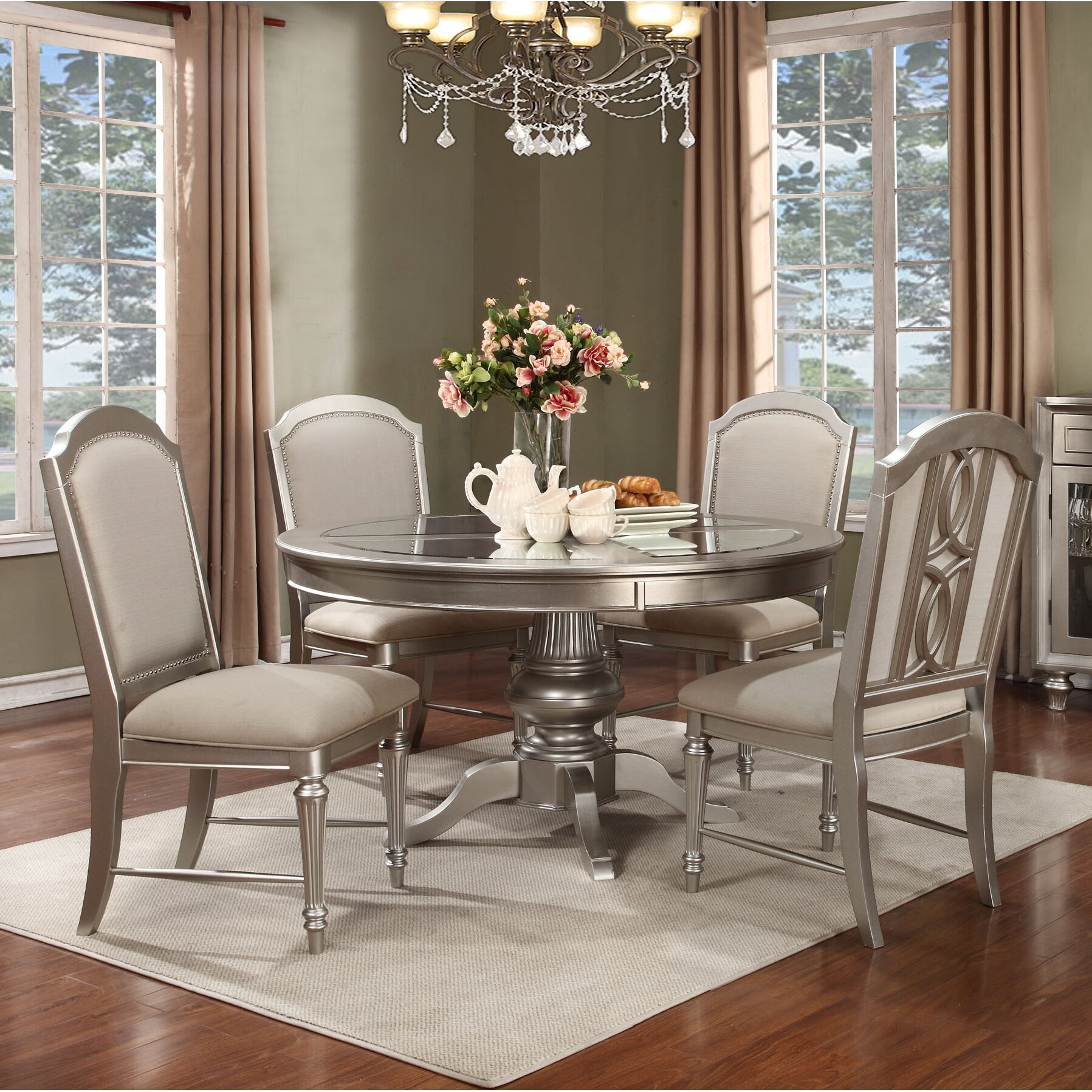 Avalon furniture regency park 5 piece dining set reviews wayfair for Regency furniture living room sets