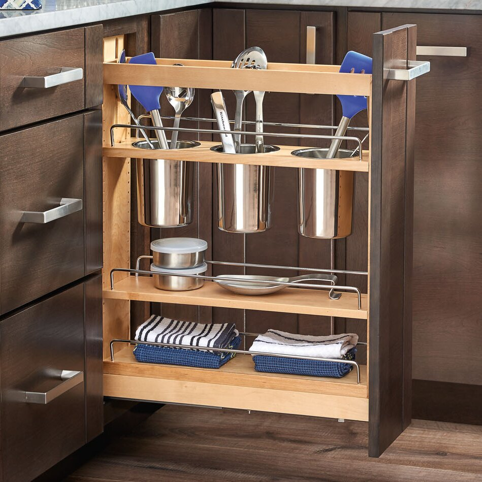 5 pull out cabinet utensil organizer wayfair - Bathroom cabinet organizers pull out ...