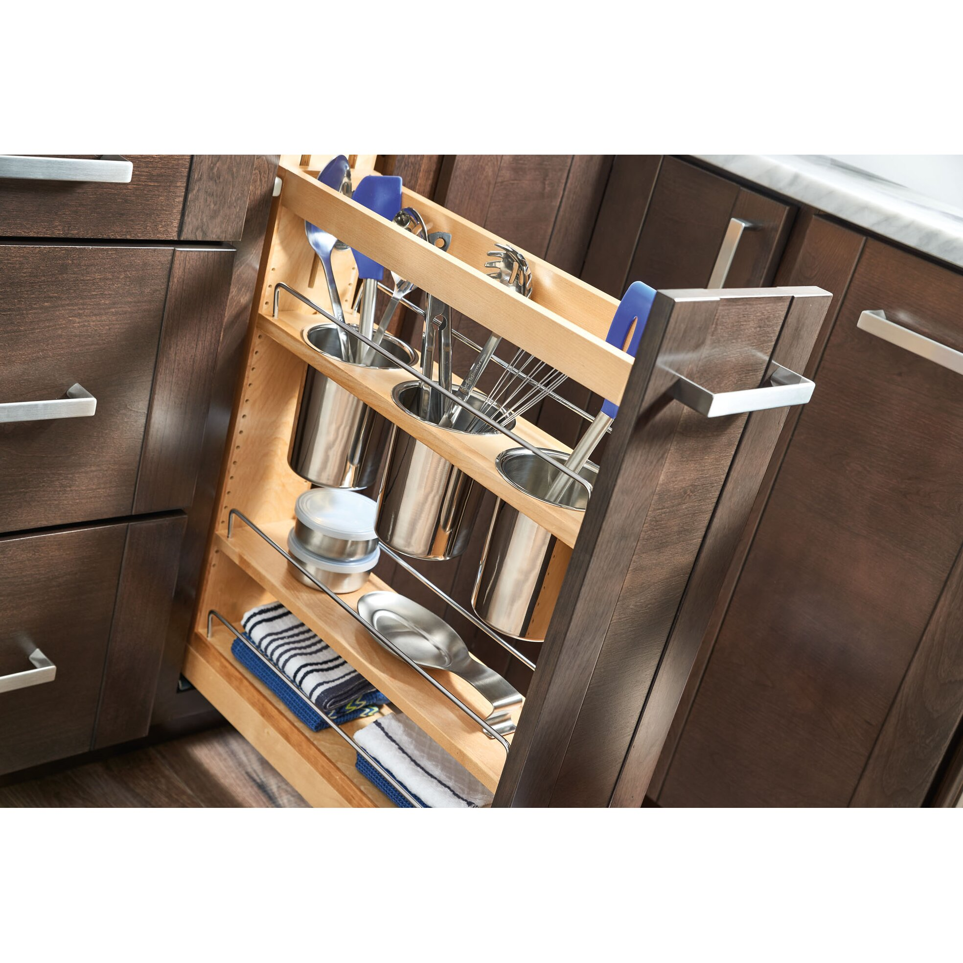 organizing a kitchen 5 quot pull out cabinet utensil organizer wayfair 1261