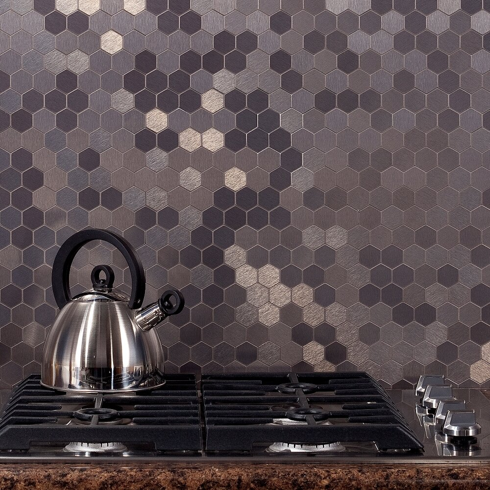 12 Quot X 4 Quot Matted Metal Honeycomb Tile In Stainless Kit