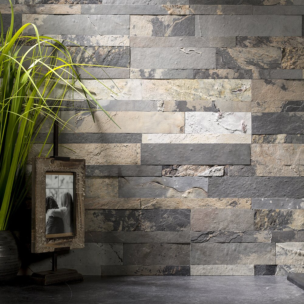 6 x 24 natural stone peel stick mosaic tile in medley