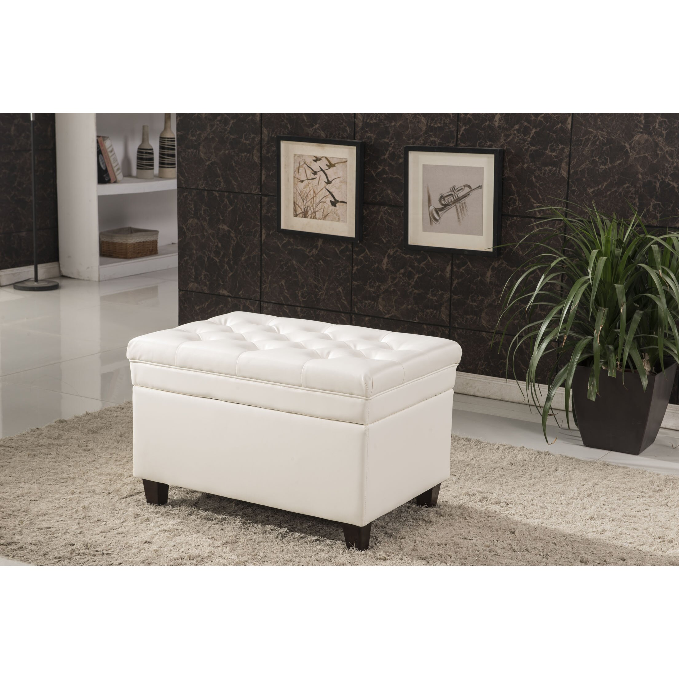 Bellasario Collection Classic Tufted Waxed Texture Storage