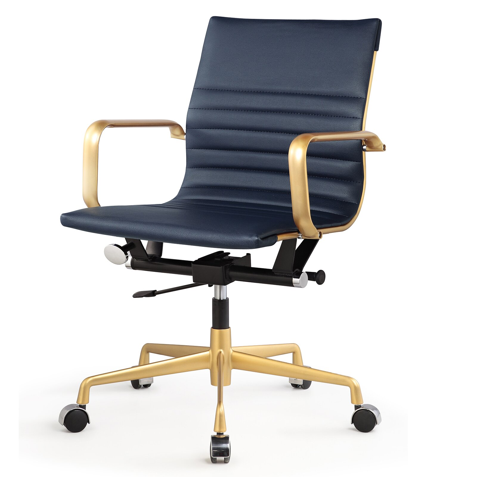 Vegan Leather Mid Back fice Chair with Arms