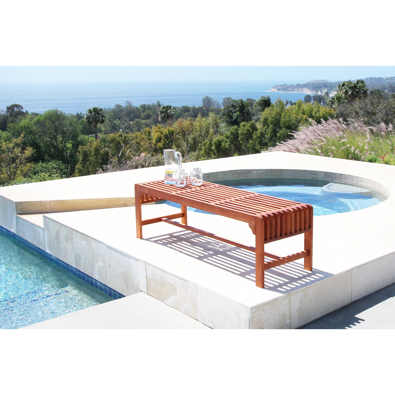 Vifah Backless Wood Three Seater Garden Bench Amp Reviews
