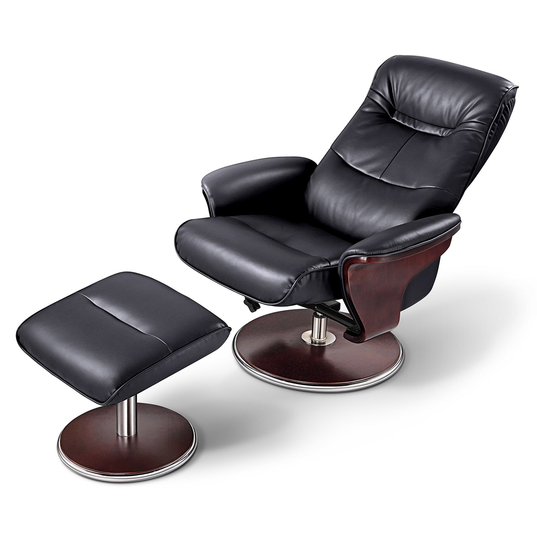 Milano Leather Swivel Recliner and Ottoman | Wayfair