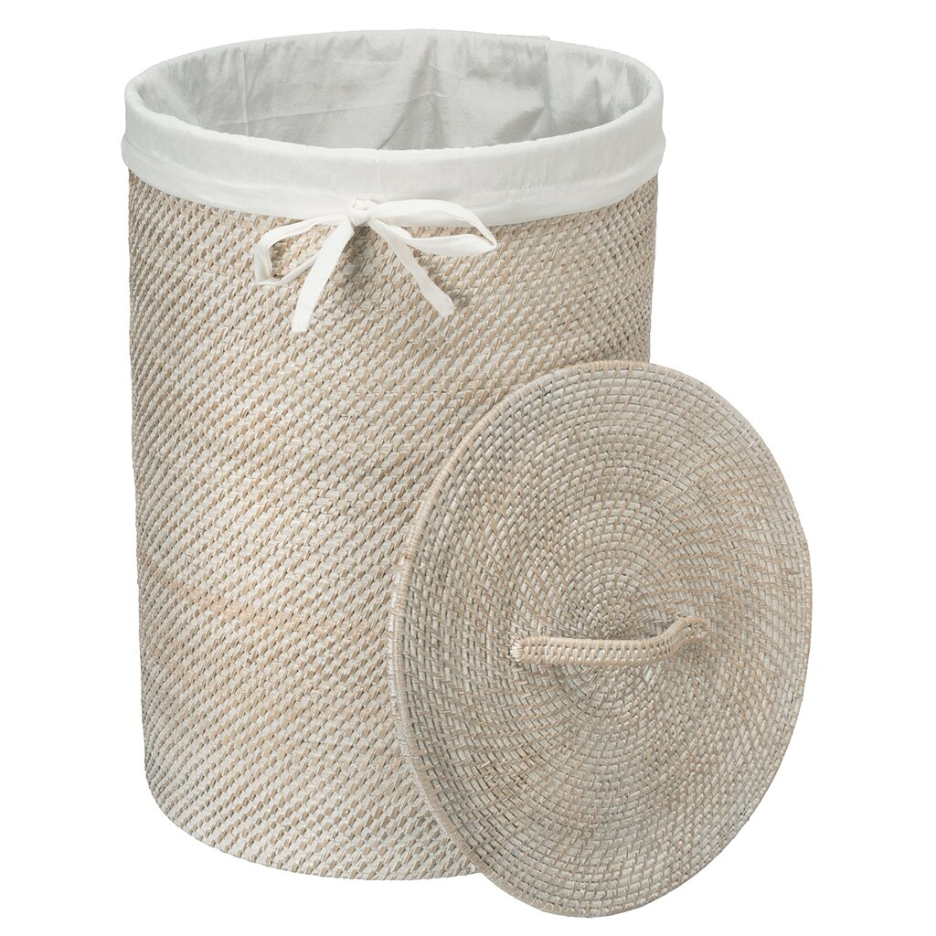 Round rattan laundry hamper with cotton liner wayfair - Rattan laundry hamper ...