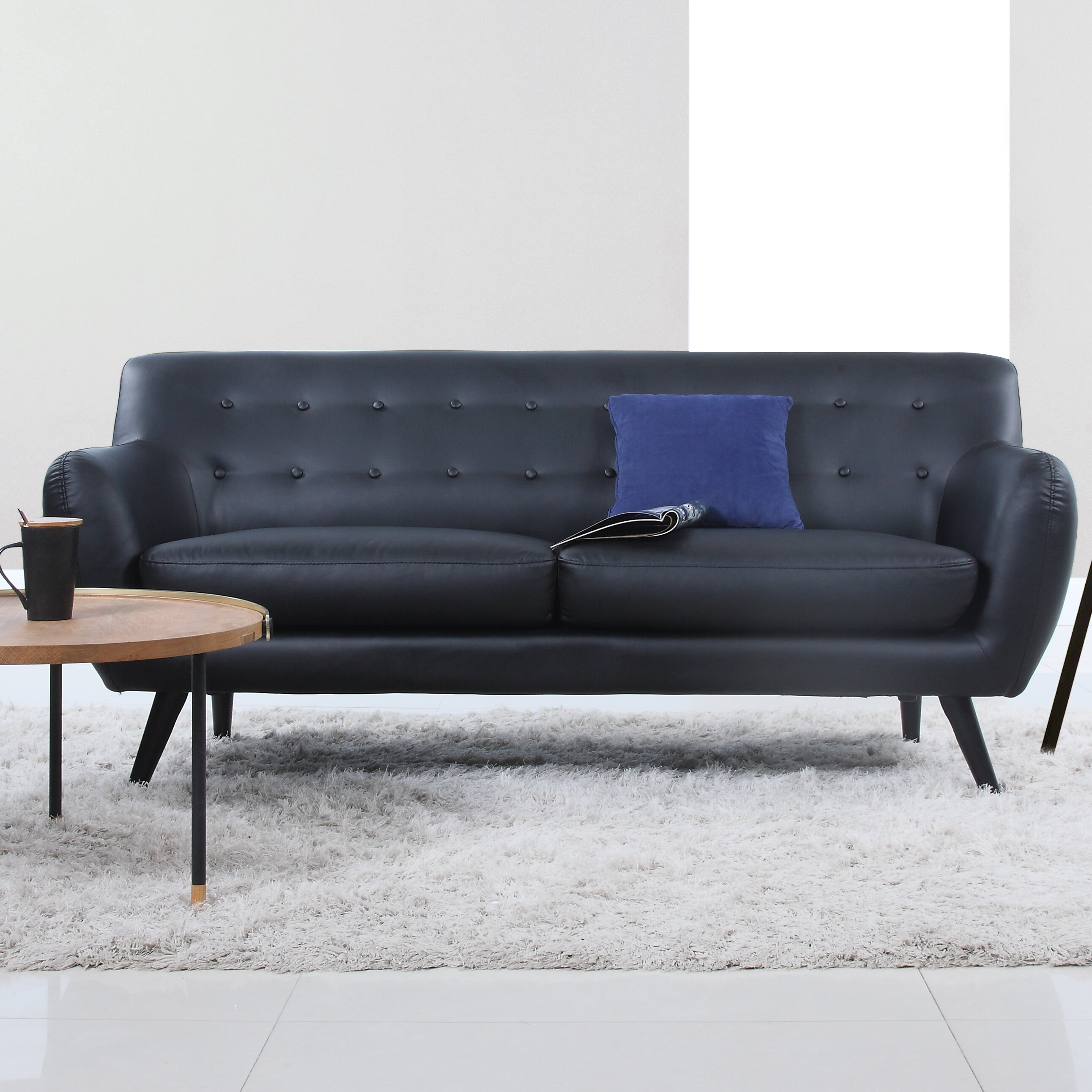madison home usa mid century modern tufted sofa reviews. Black Bedroom Furniture Sets. Home Design Ideas