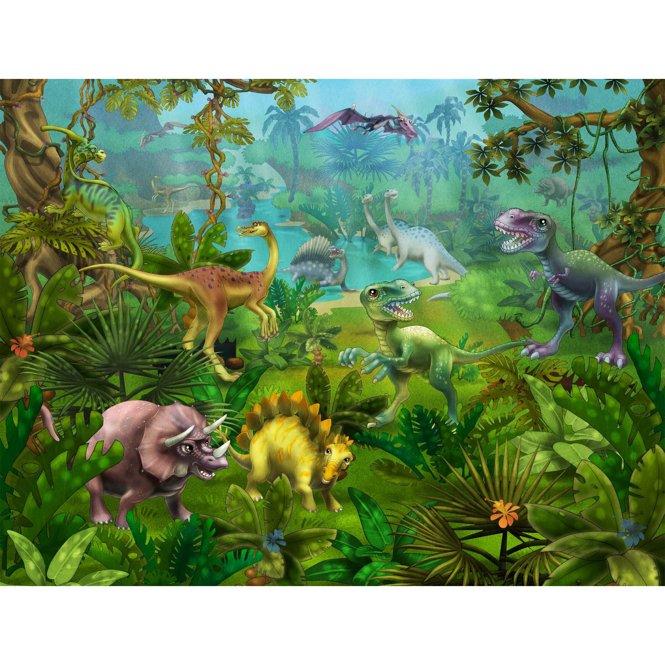 Dinosaur Utopia Poster Wall Mural by Wallhogs