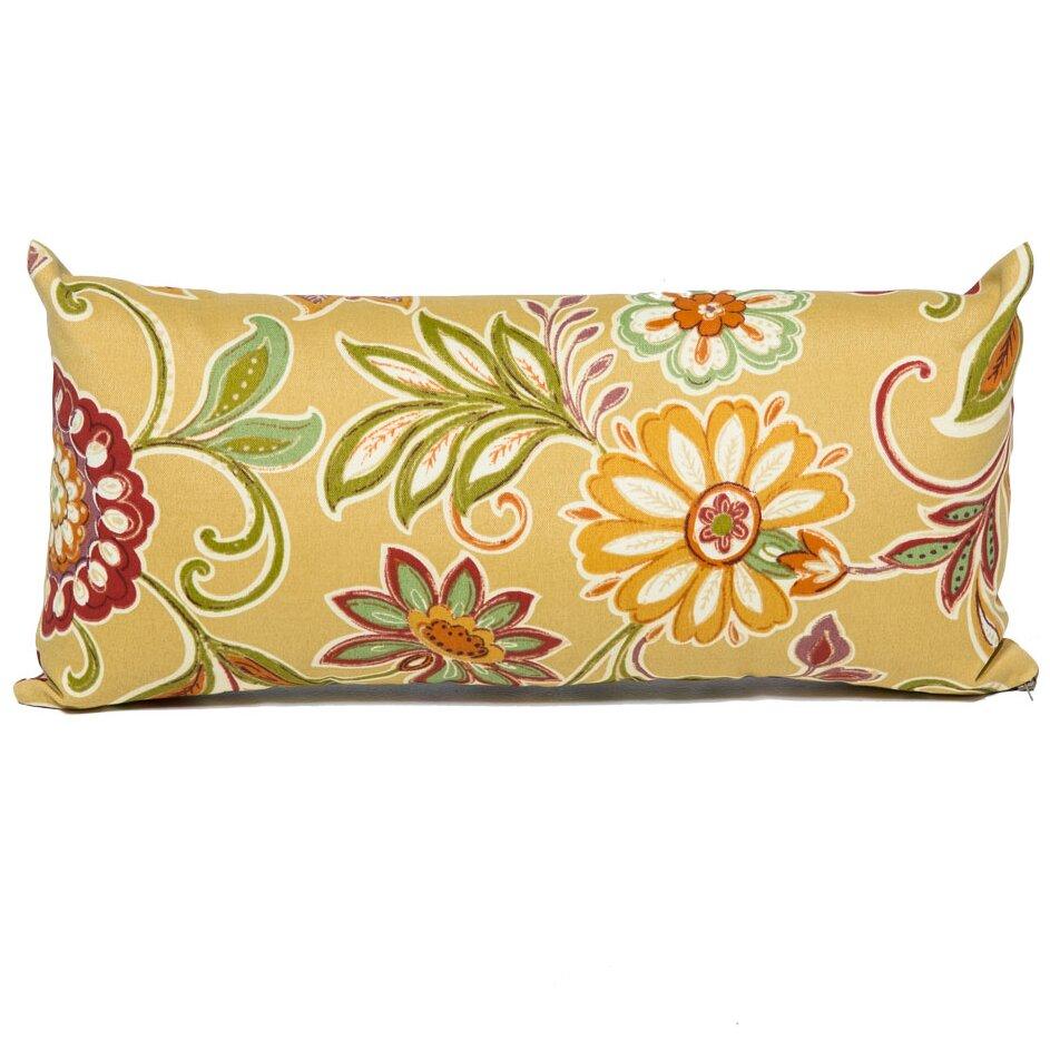 Retro Floral Outdoor Throw Pillows Rectangle