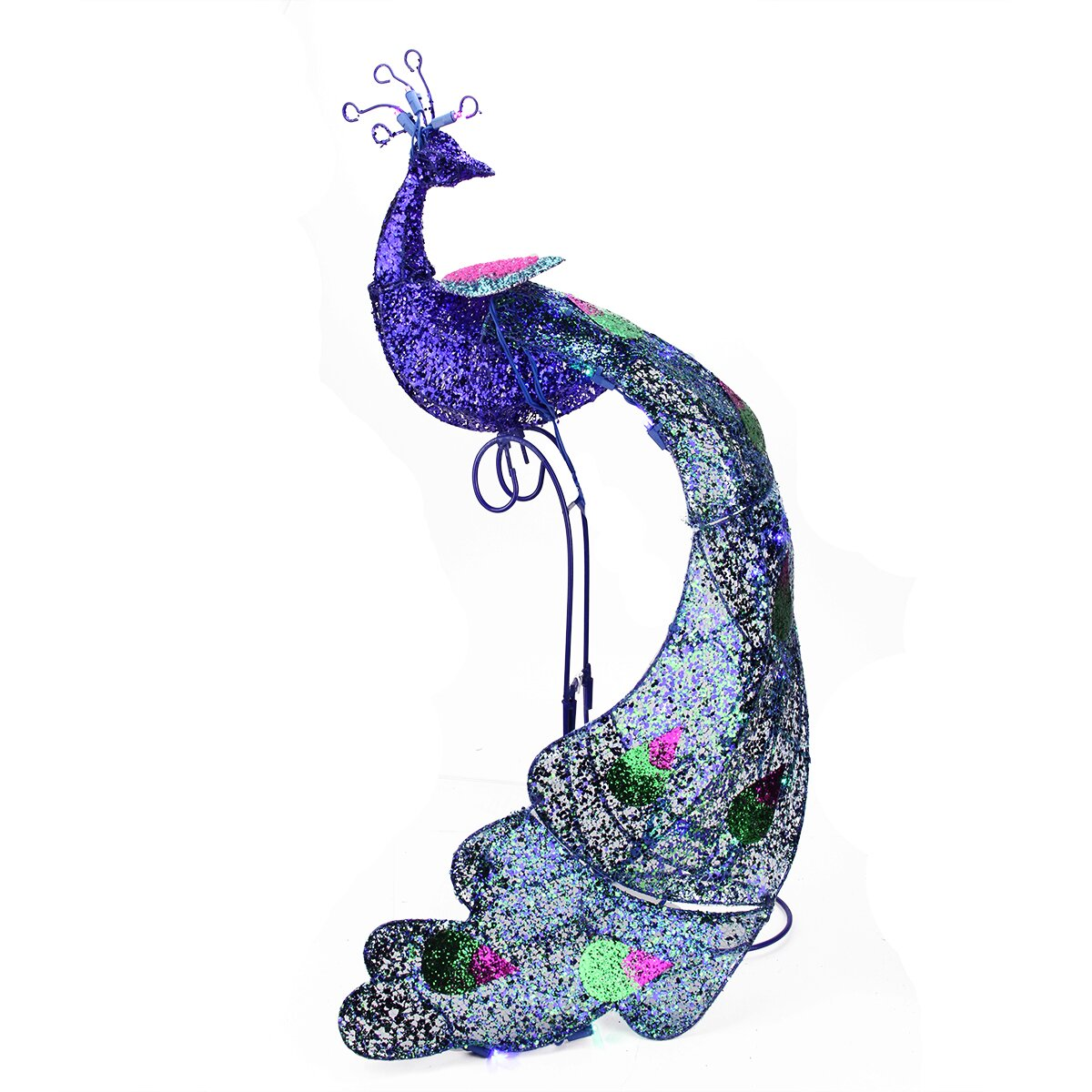 Pre lit twinkling led glittered peacock christmas yard art decoration wayfair - Outdoor peacock decorations ...