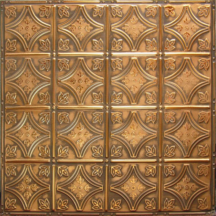 american tin ceilings 24 x 24 tin panel backsplash kit in copper