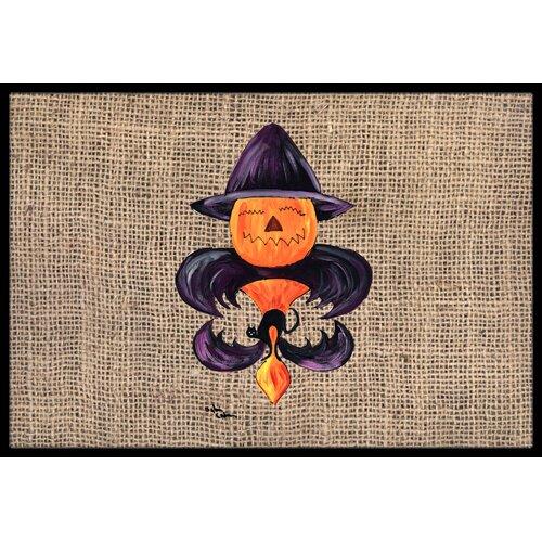 Halloween Pumpkin Bat Fleur De Lis Doormat Wayfair