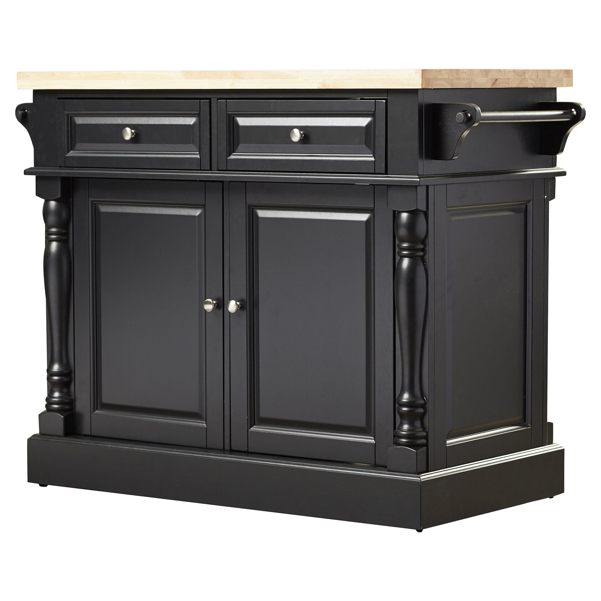 darby home co lewistown kitchen island with butcher block catskill craftsmen kitchen island with butcher block top